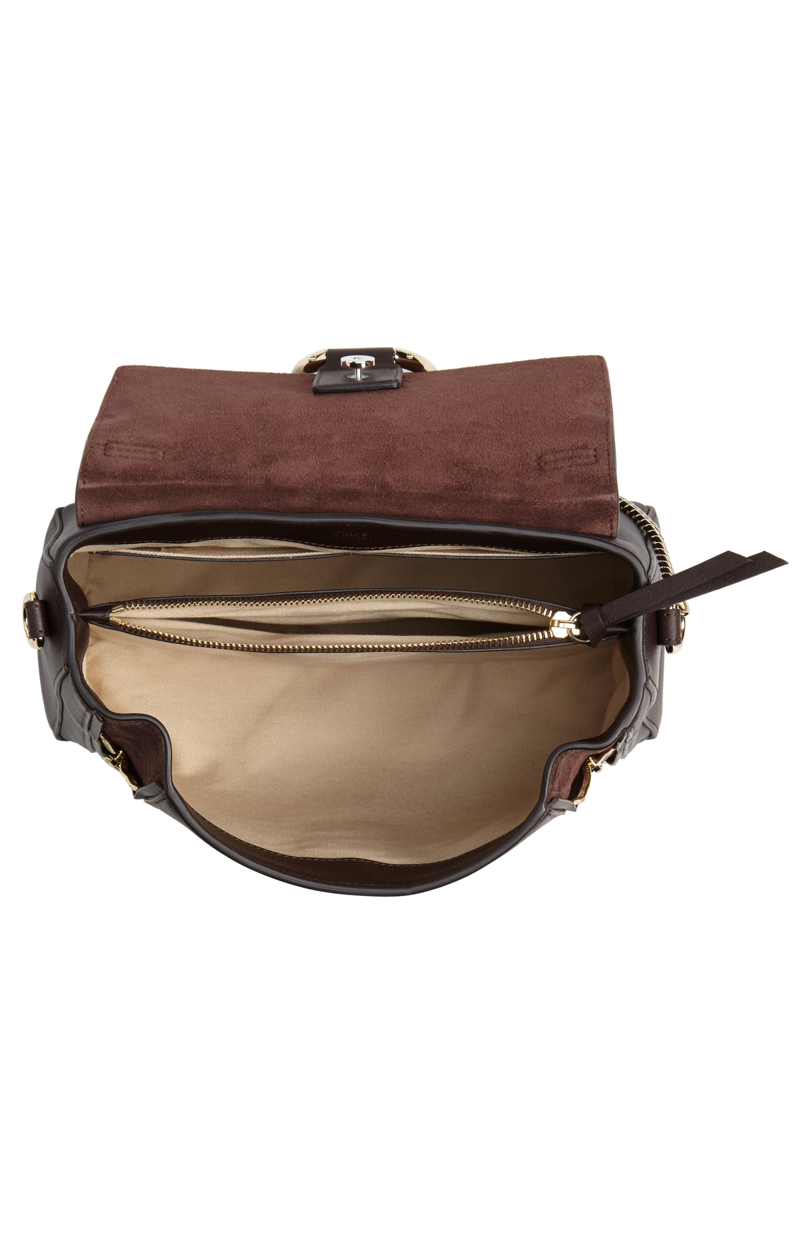 Small Faye Day Leather Shoulder Bag,                             Alternate thumbnail 4, color,                             CARBON BROWN