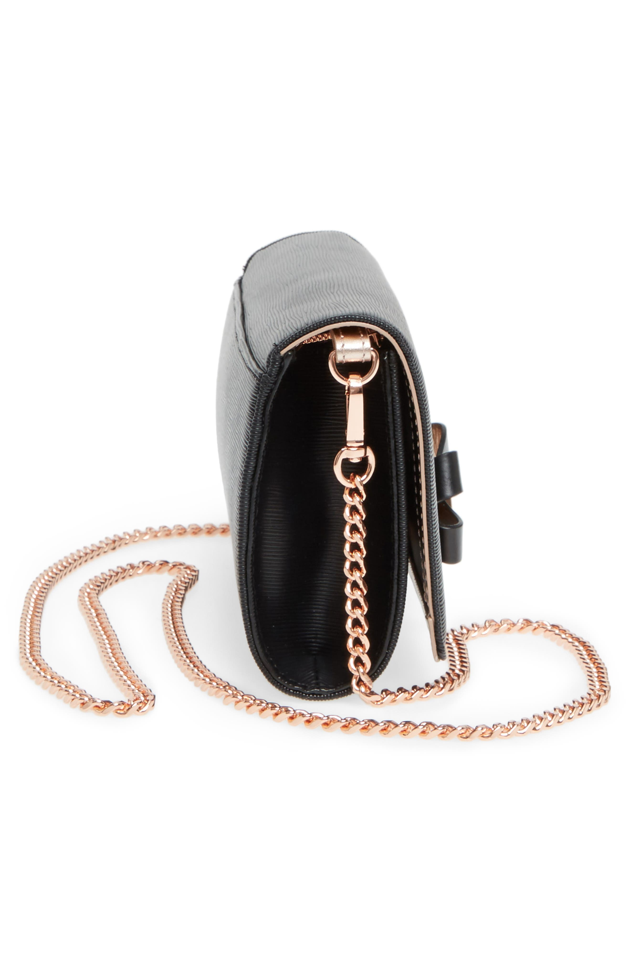 Melisia Bow Leather Mantinee Wallet on a Chain,                             Alternate thumbnail 5, color,                             001