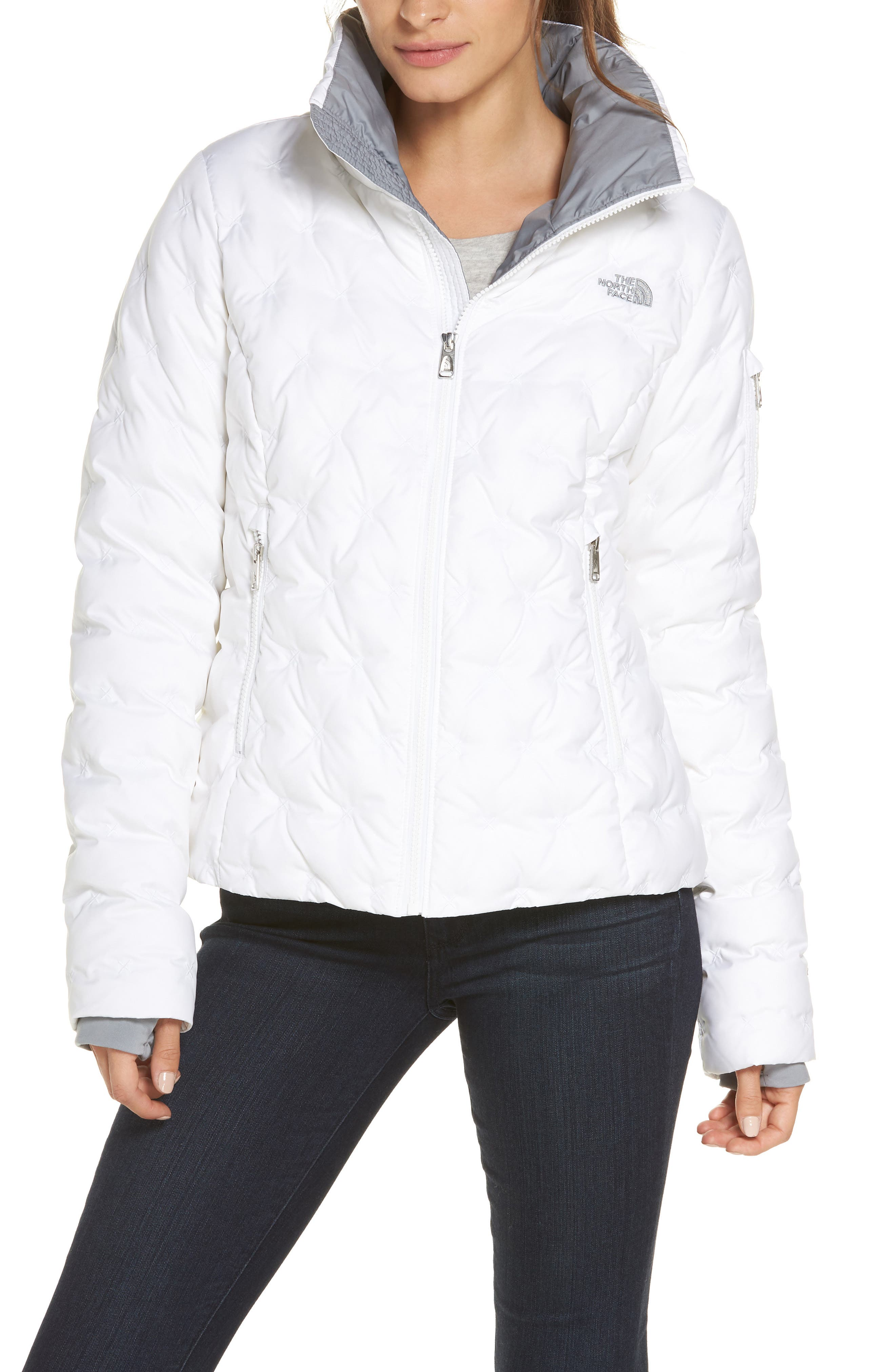 The North Face Holladown Water Repellent 550-Fill Power Down Crop Jacket, White