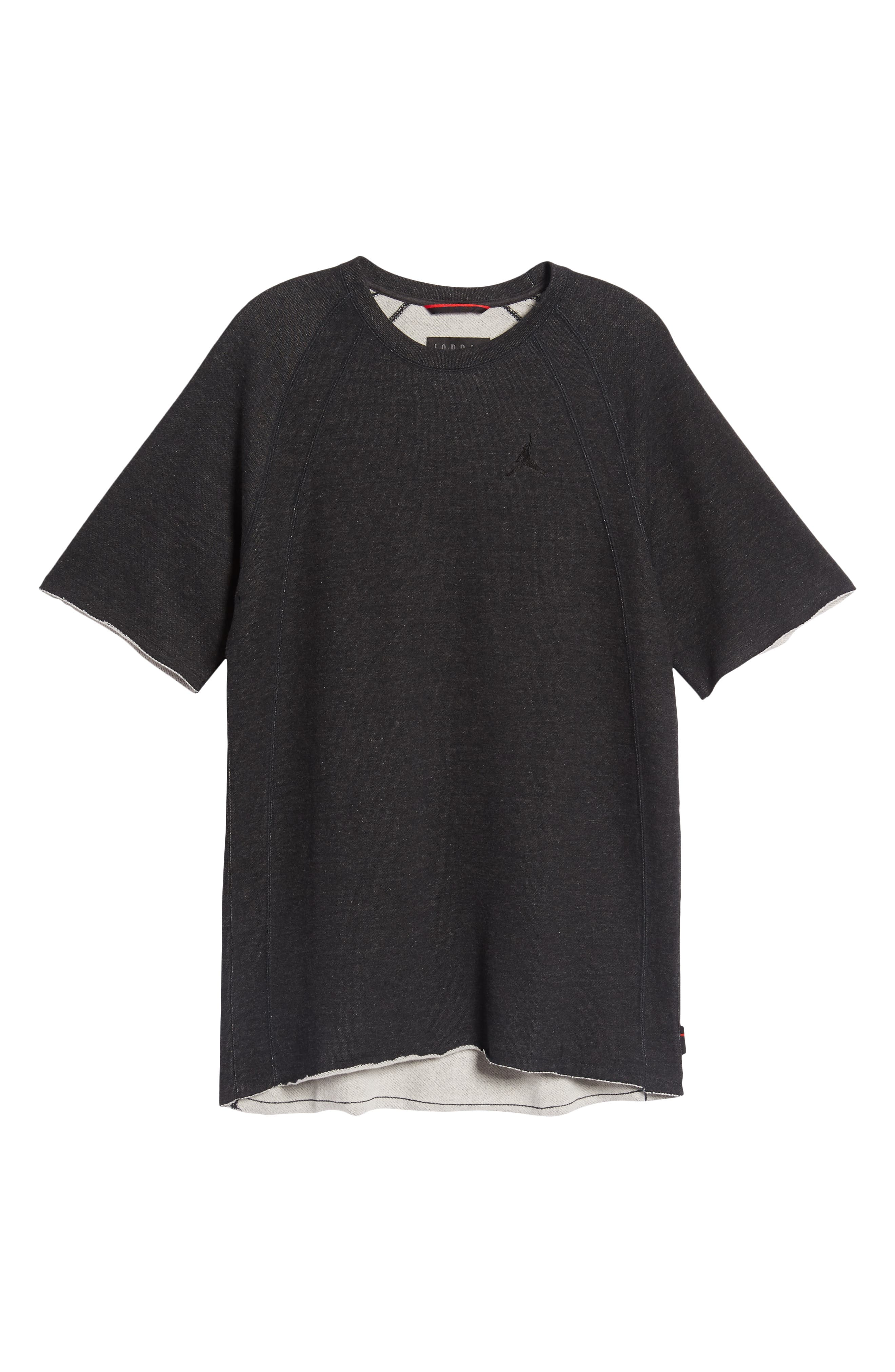 Wings Light Short Sleeve Sweatshirt,                             Alternate thumbnail 6, color,                             BLACK HEATHER/ BLACK