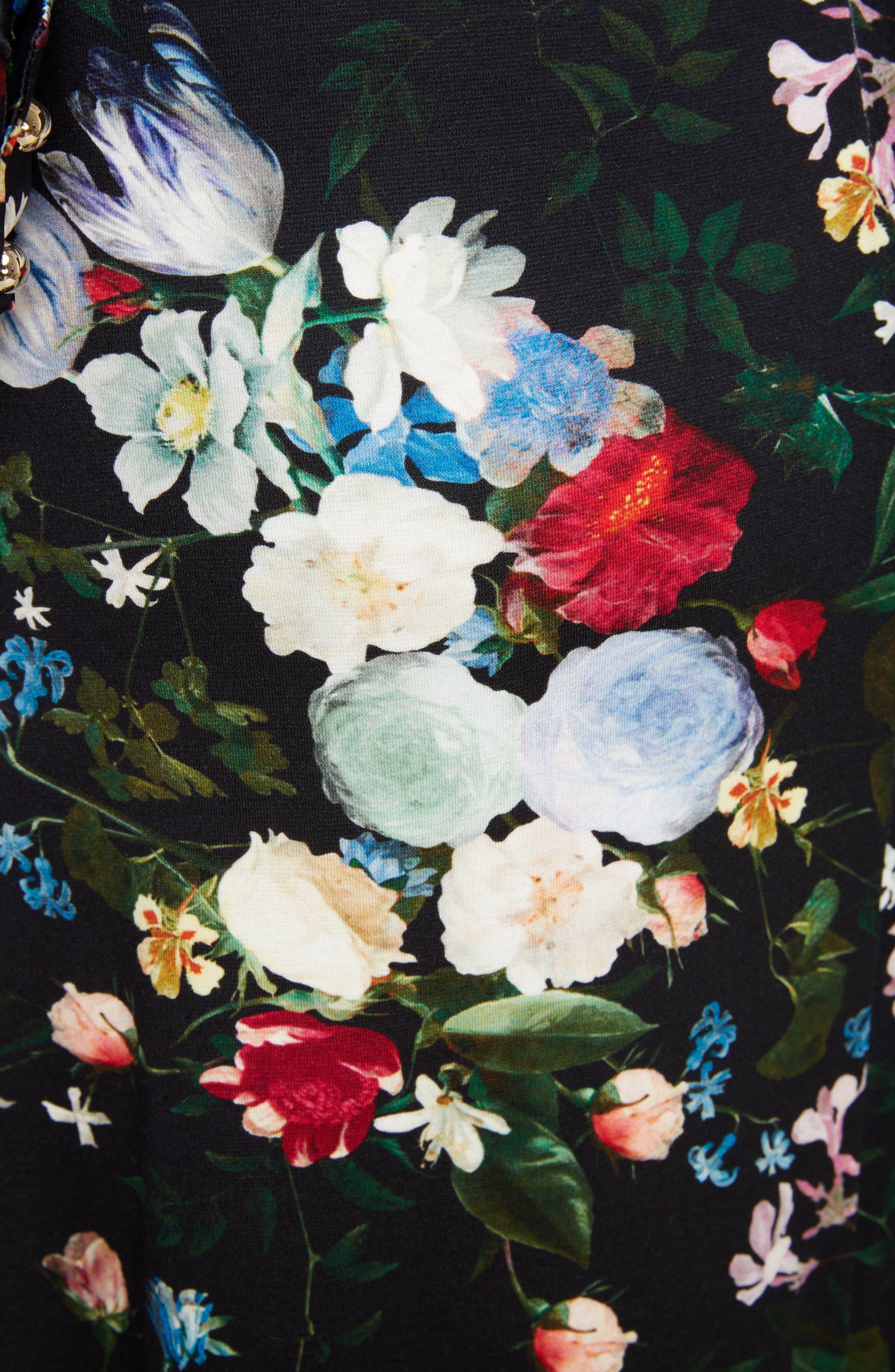 Floral Ponte Jersey Tie Neck Dress,                             Alternate thumbnail 5, color,                             BLACK/ MULTI