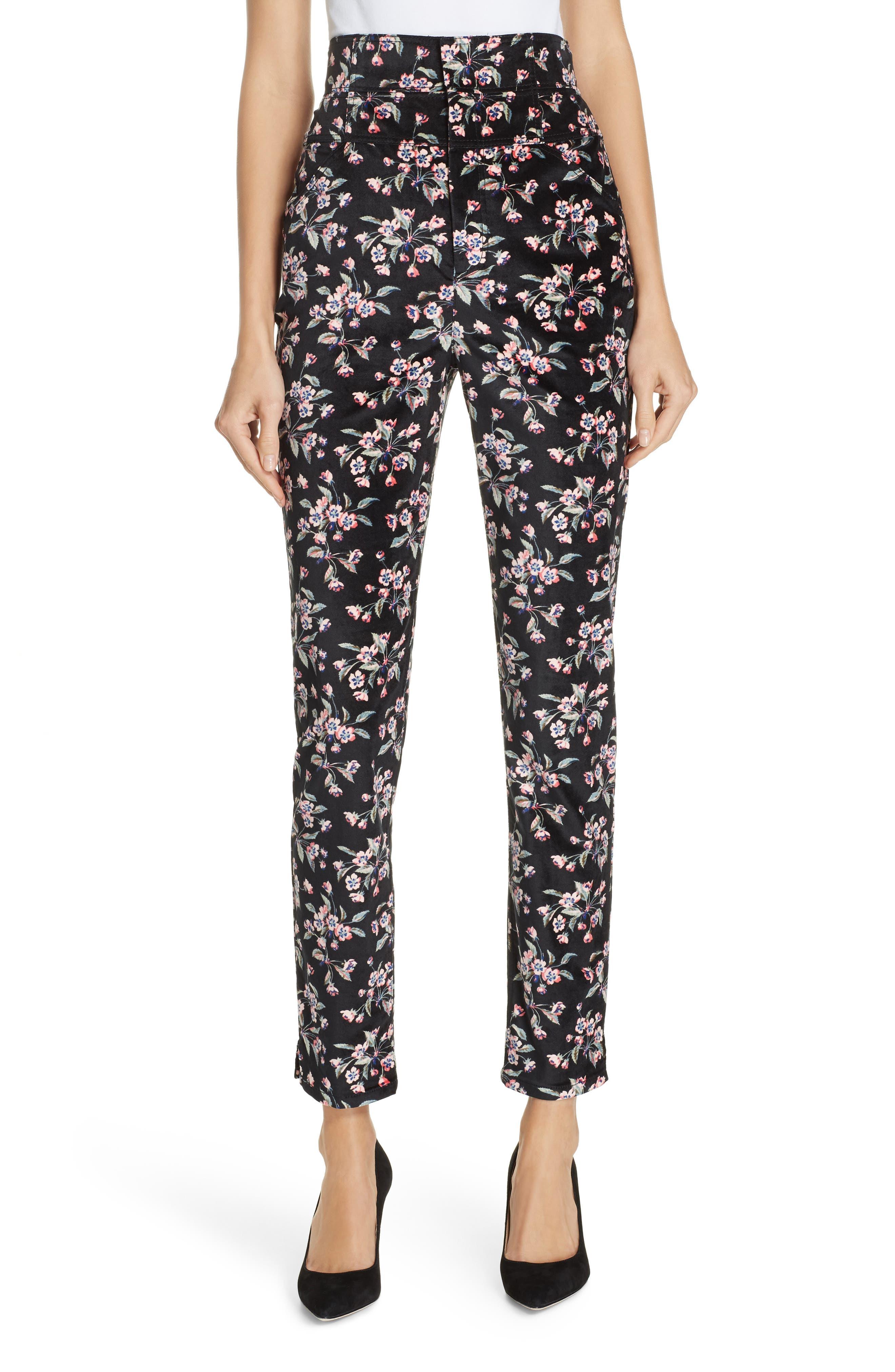 Tilda Floral-Print Velvet Skinny Ankle Pants in Black Combo