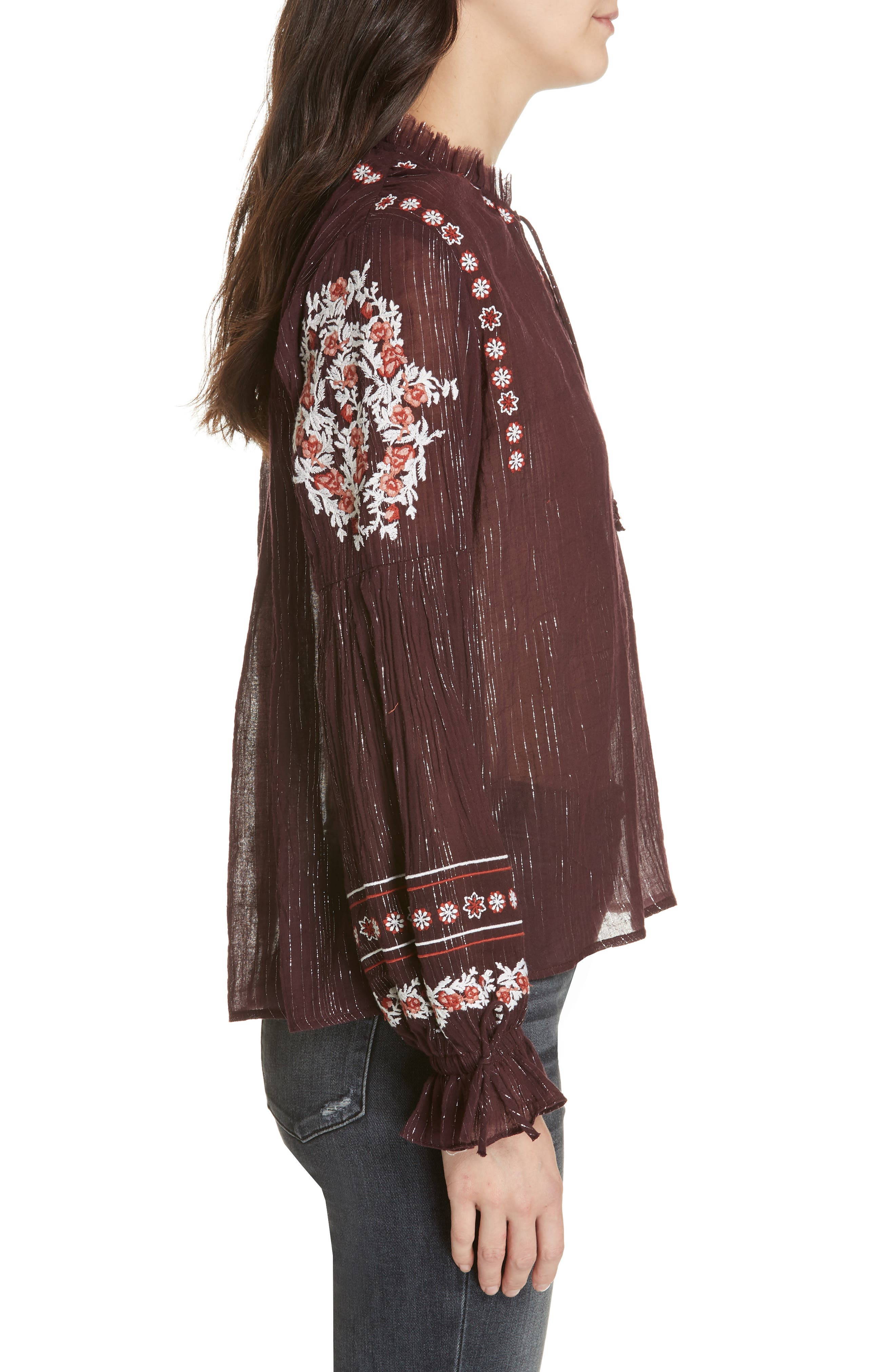 DOLAN,                             Lily Embroidered Peasant Top,                             Alternate thumbnail 3, color,                             MULBERRY
