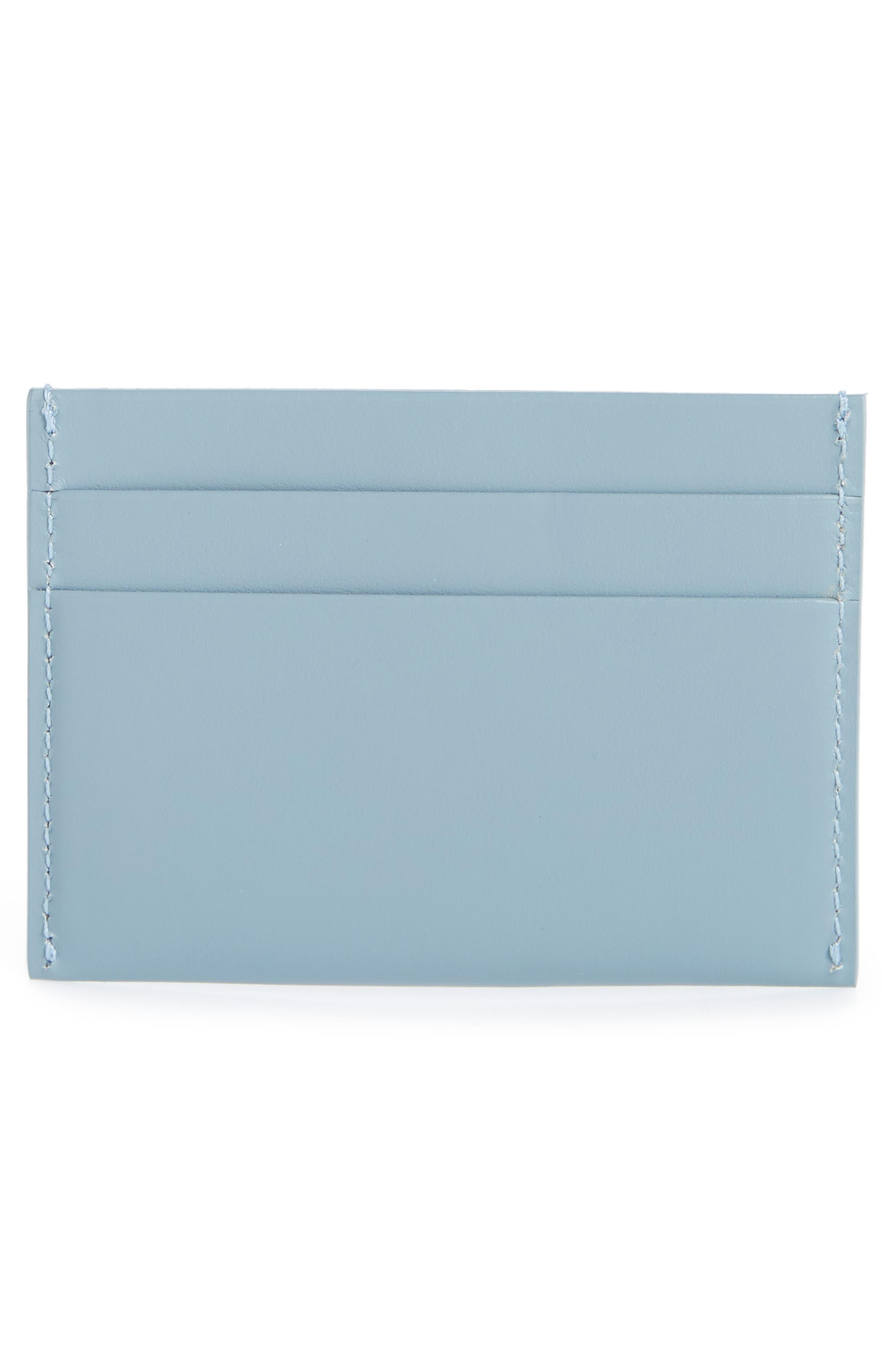 Leather Card Holder,                             Alternate thumbnail 2, color,                             GREY BLUE