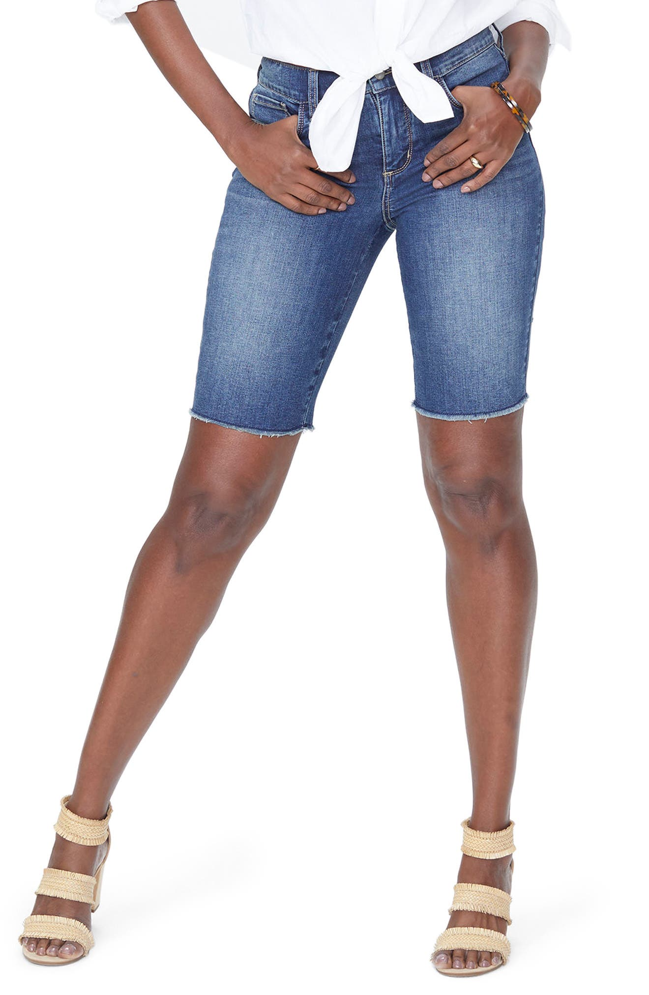 Briella Frayed Hem Denim Bermuda Shorts,                             Main thumbnail 1, color,