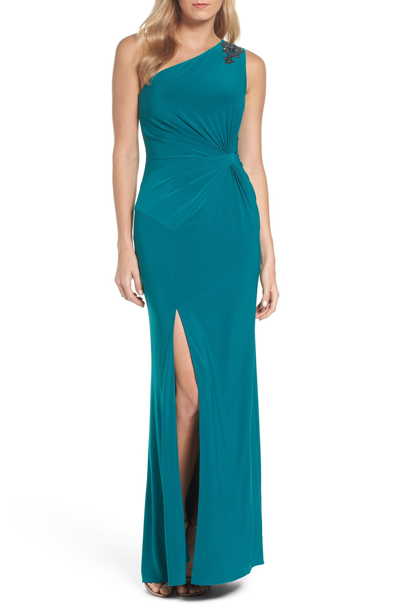 One-Shoulder Jersey Gown,                             Alternate thumbnail 5, color,                             311