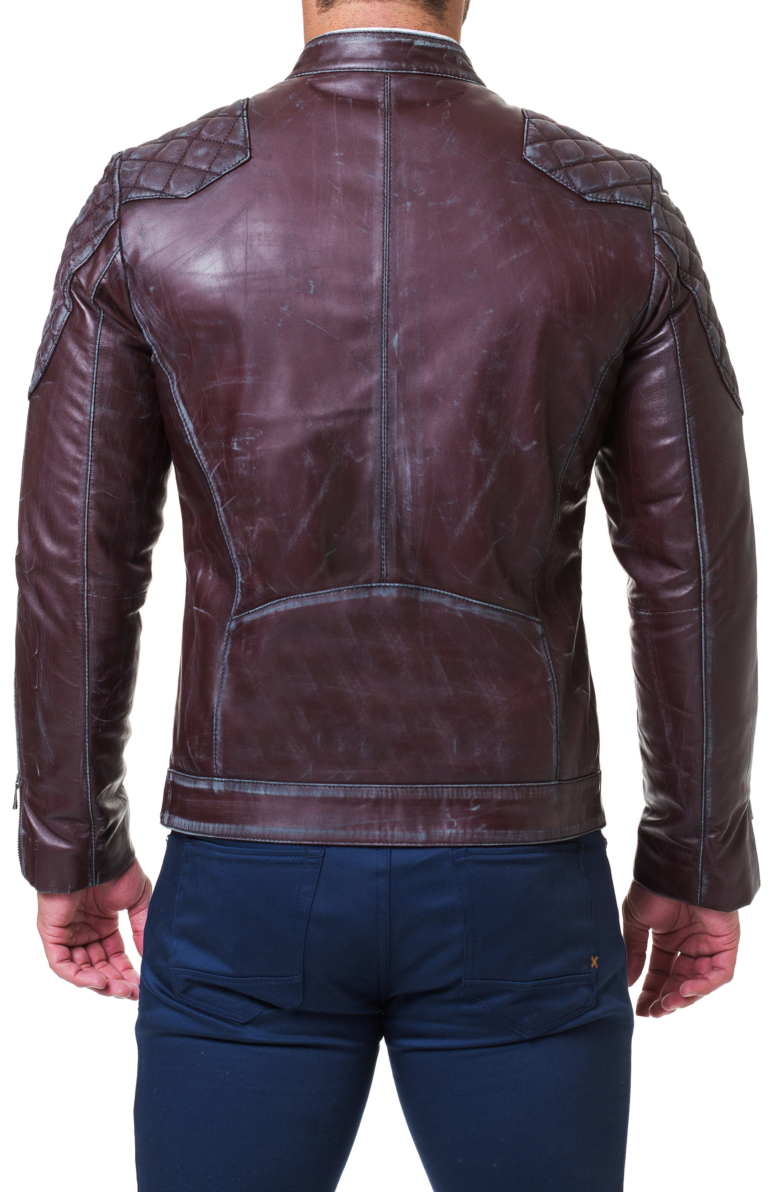 Quilted Leather Jacket,                             Alternate thumbnail 2, color,                             RED