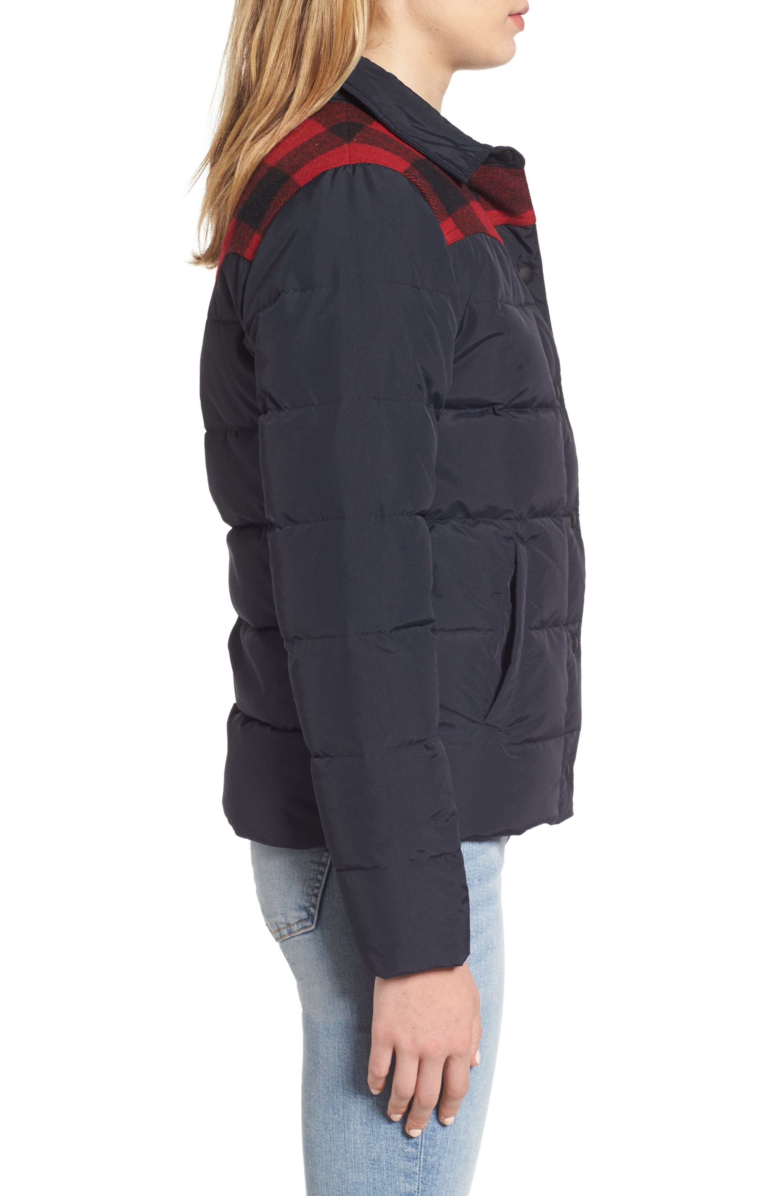 Down & Feather Fill Jacket,                             Alternate thumbnail 3, color,                             001