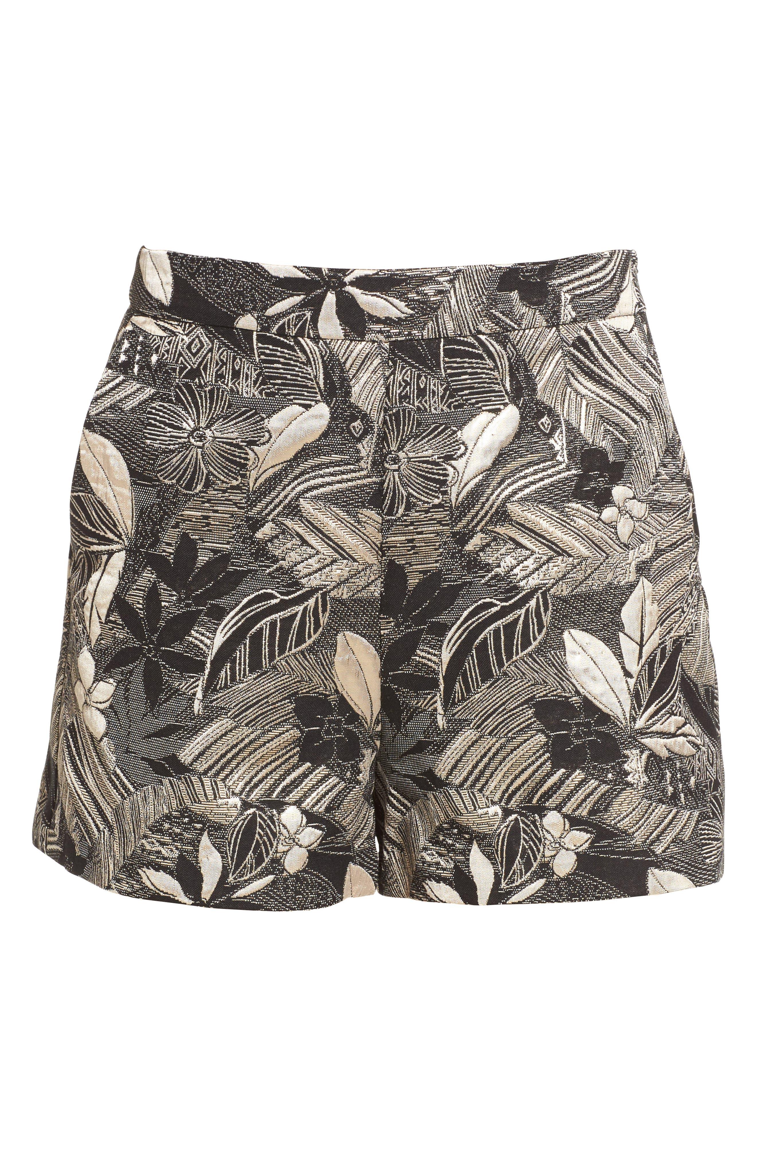 High Waist Jacquard Shorts,                             Alternate thumbnail 6, color,                             001