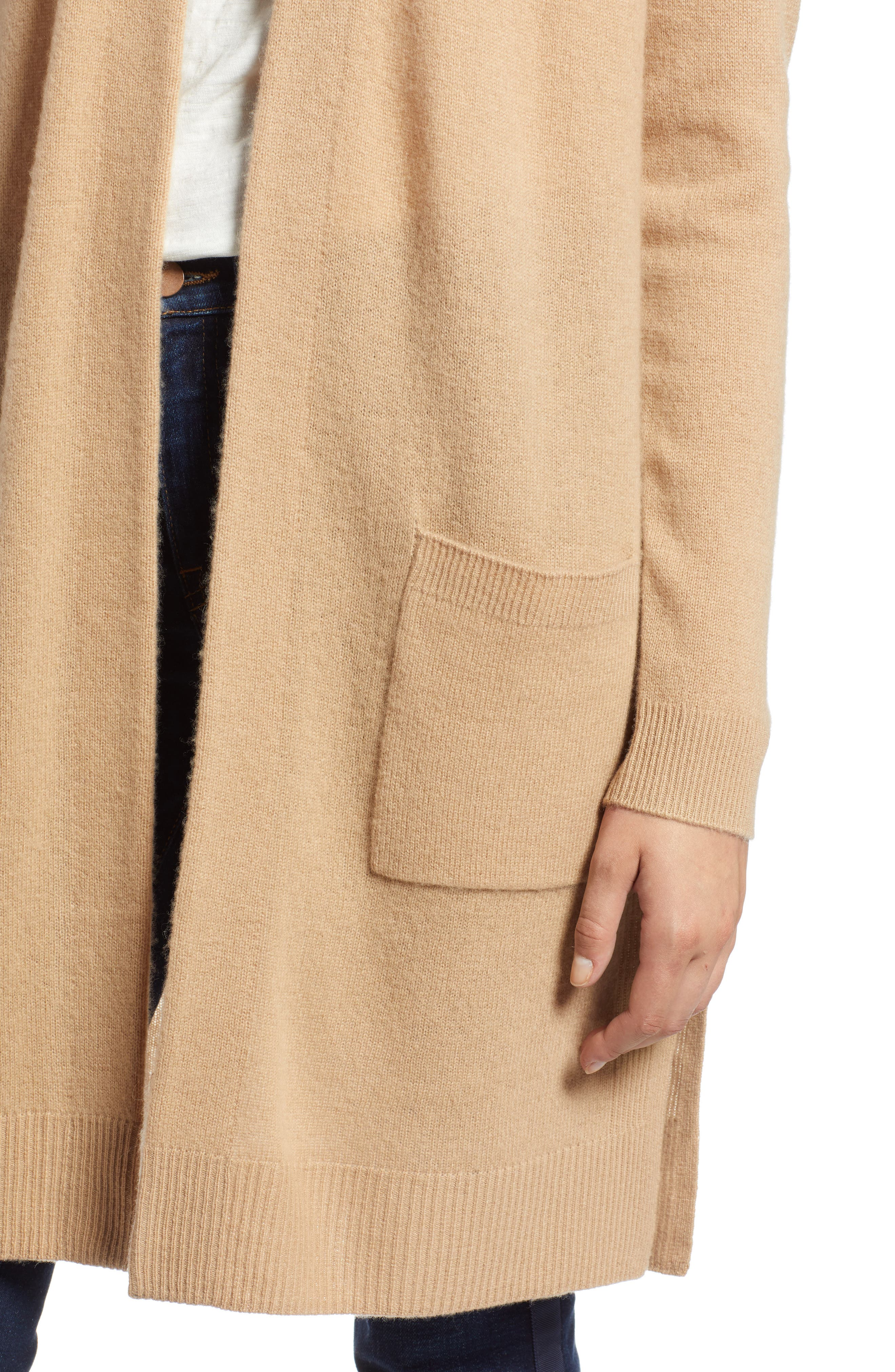 Rib Knit Wool & Cashmere Cardigan,                             Alternate thumbnail 4, color,                             CAMEL