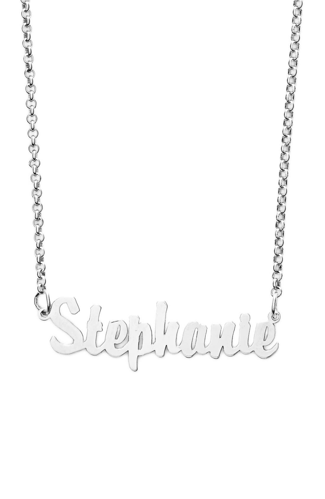 Personalized Script Name Necklace,                             Main thumbnail 1, color,                             SILVER