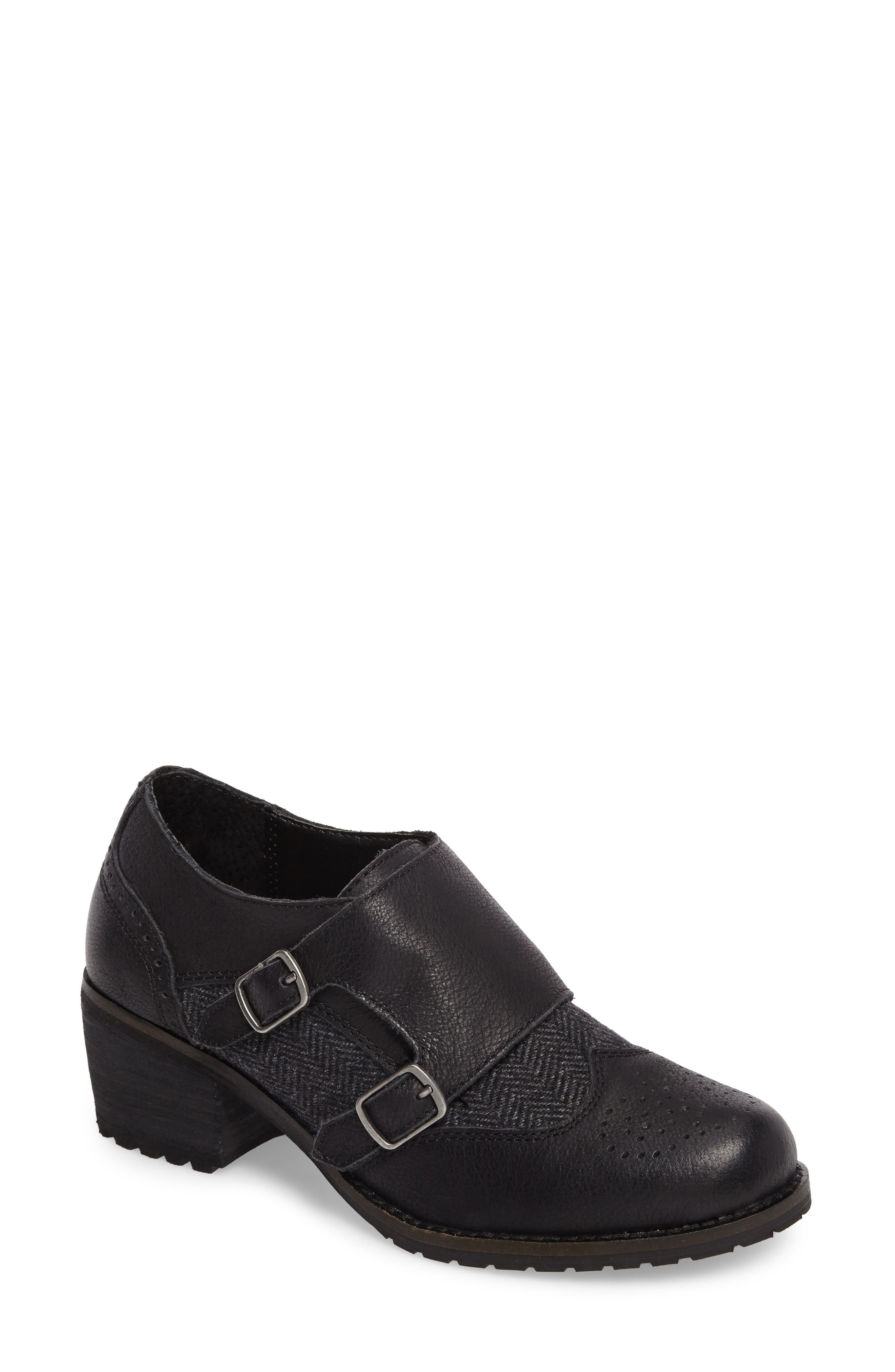 Dina Double Monk Strap Ankle Boot,                         Main,                         color, BLACK LEATHER