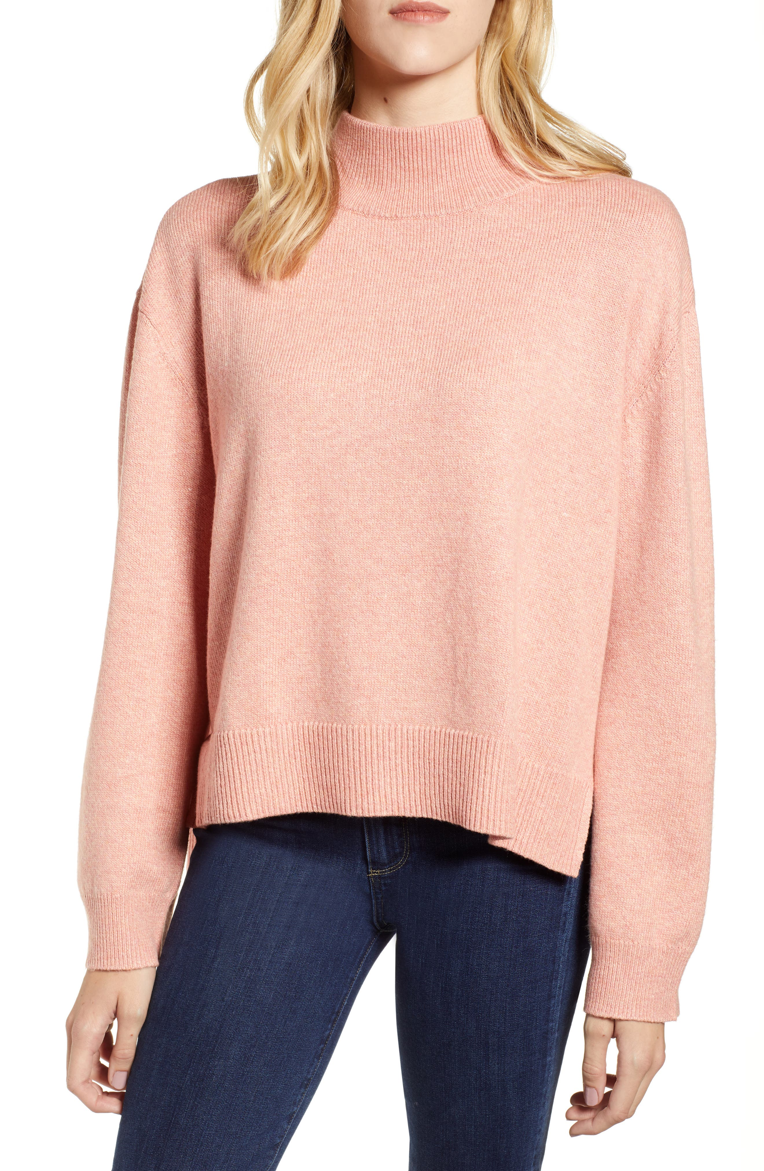 Tie Back Cotton Blend Sweater,                             Main thumbnail 1, color,                             PINK BISQUE HEATHER