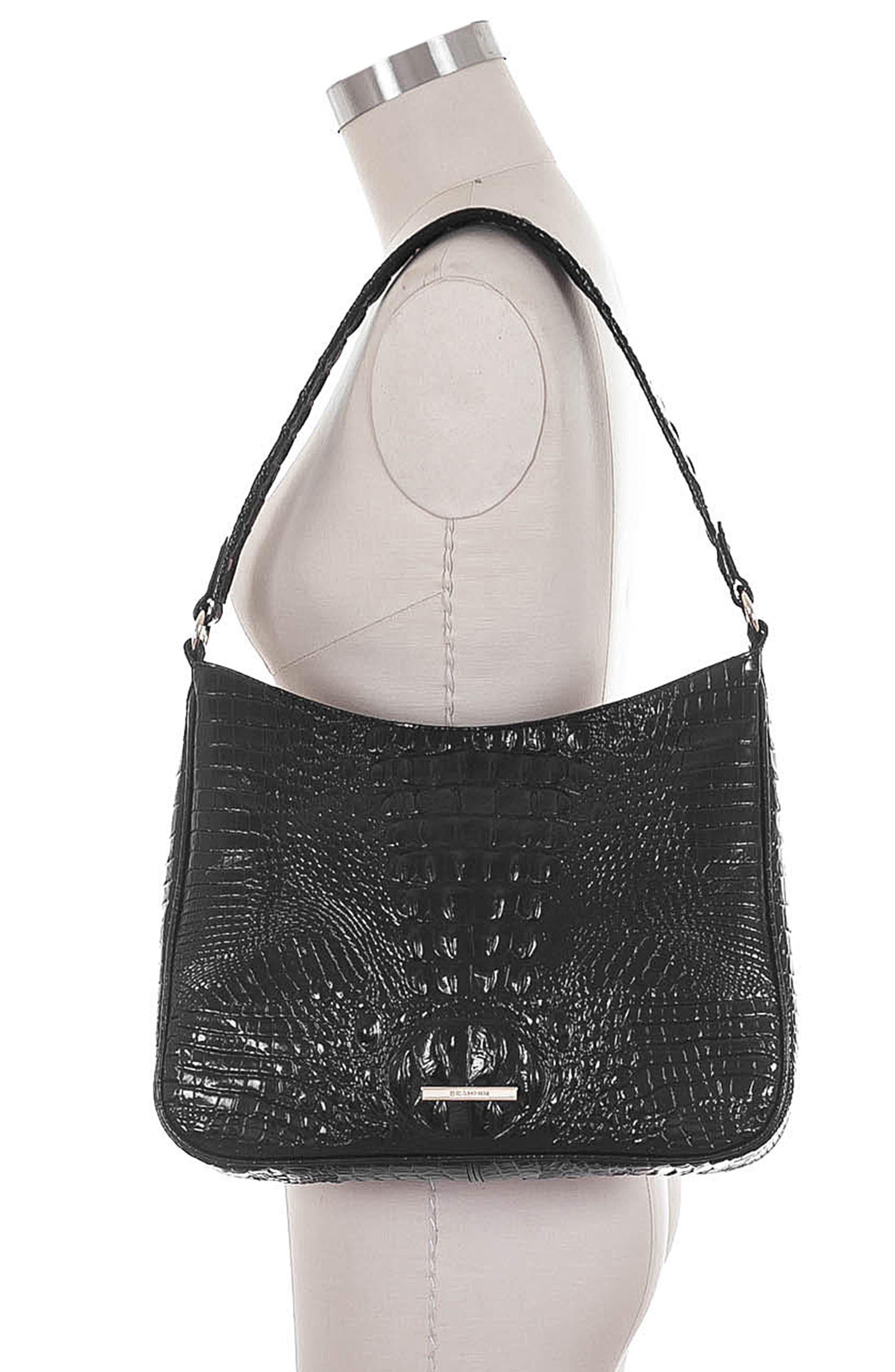 Noelle Croc Embossed Leather Hobo Bag,                             Alternate thumbnail 2, color,                             BLACK