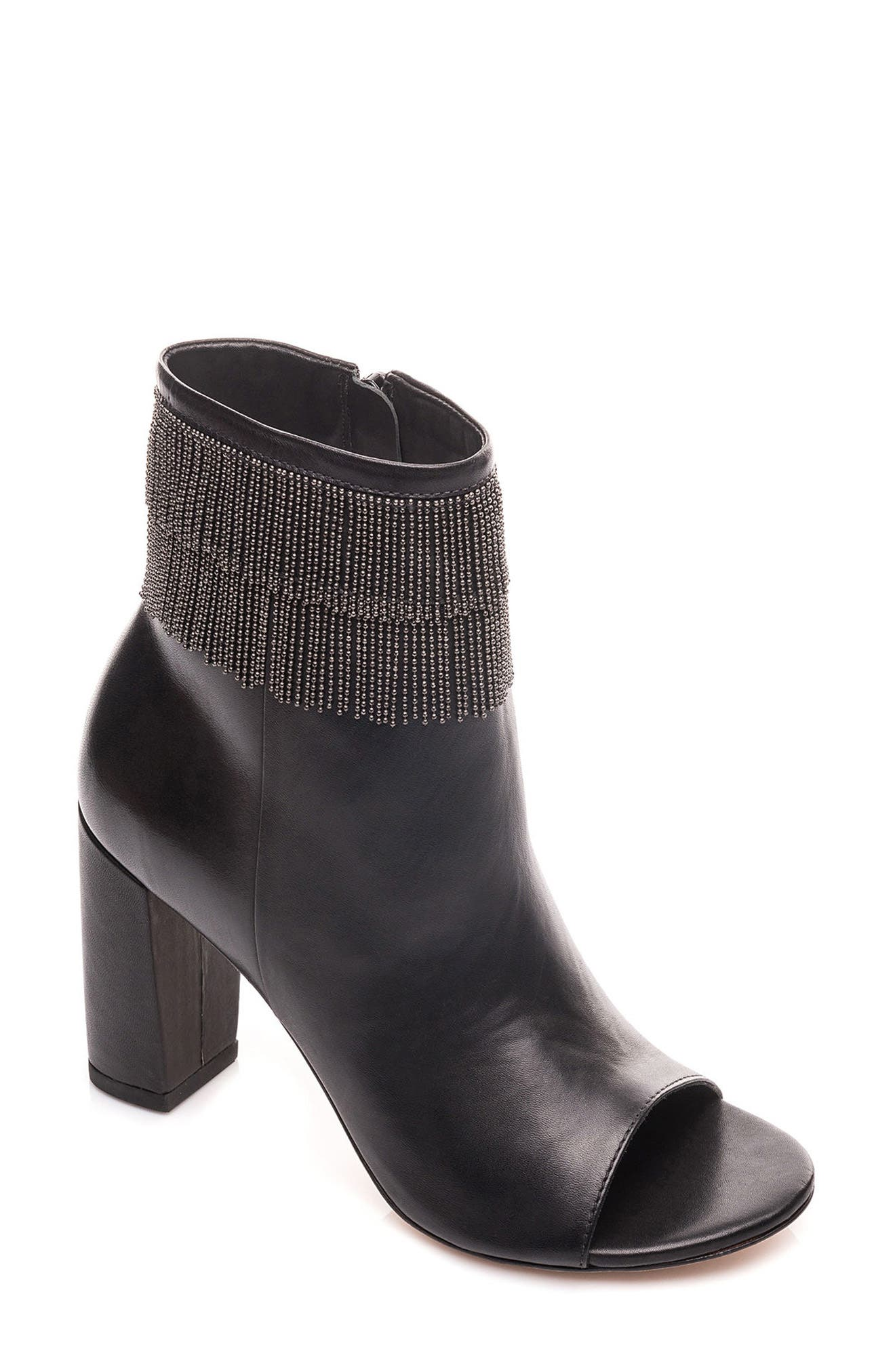 Honour Fringe Peep Toe Bootie,                             Main thumbnail 1, color,                             001