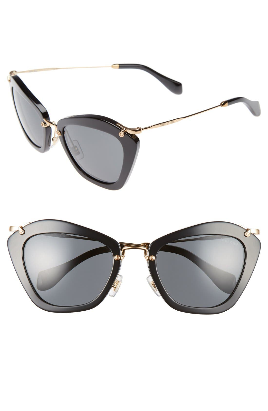 Noir 55mm Cat Eye Sunglasses,                         Main,                         color,