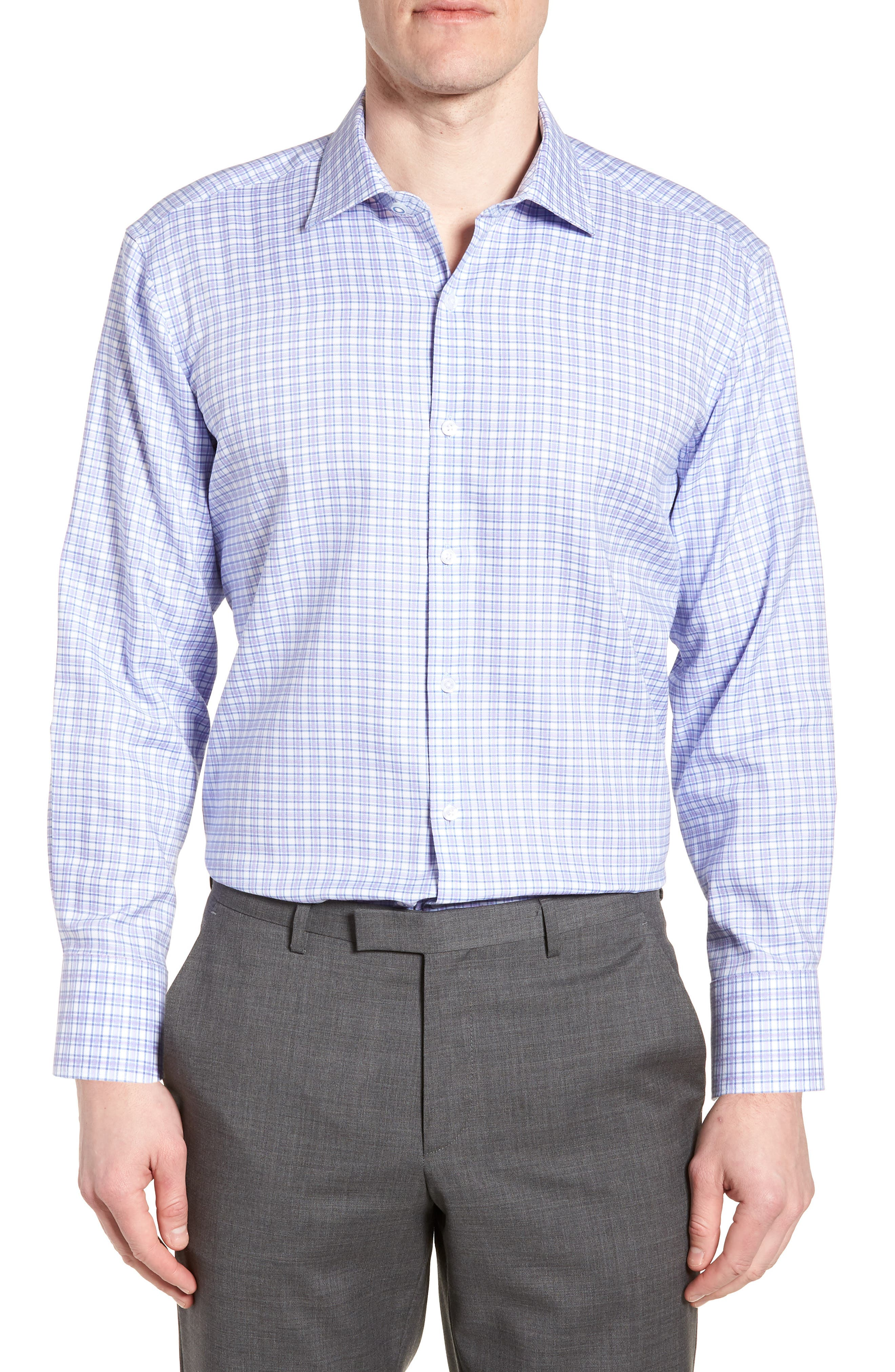 Neil Trim Fit Check Dress Shirt,                         Main,                         color, 530