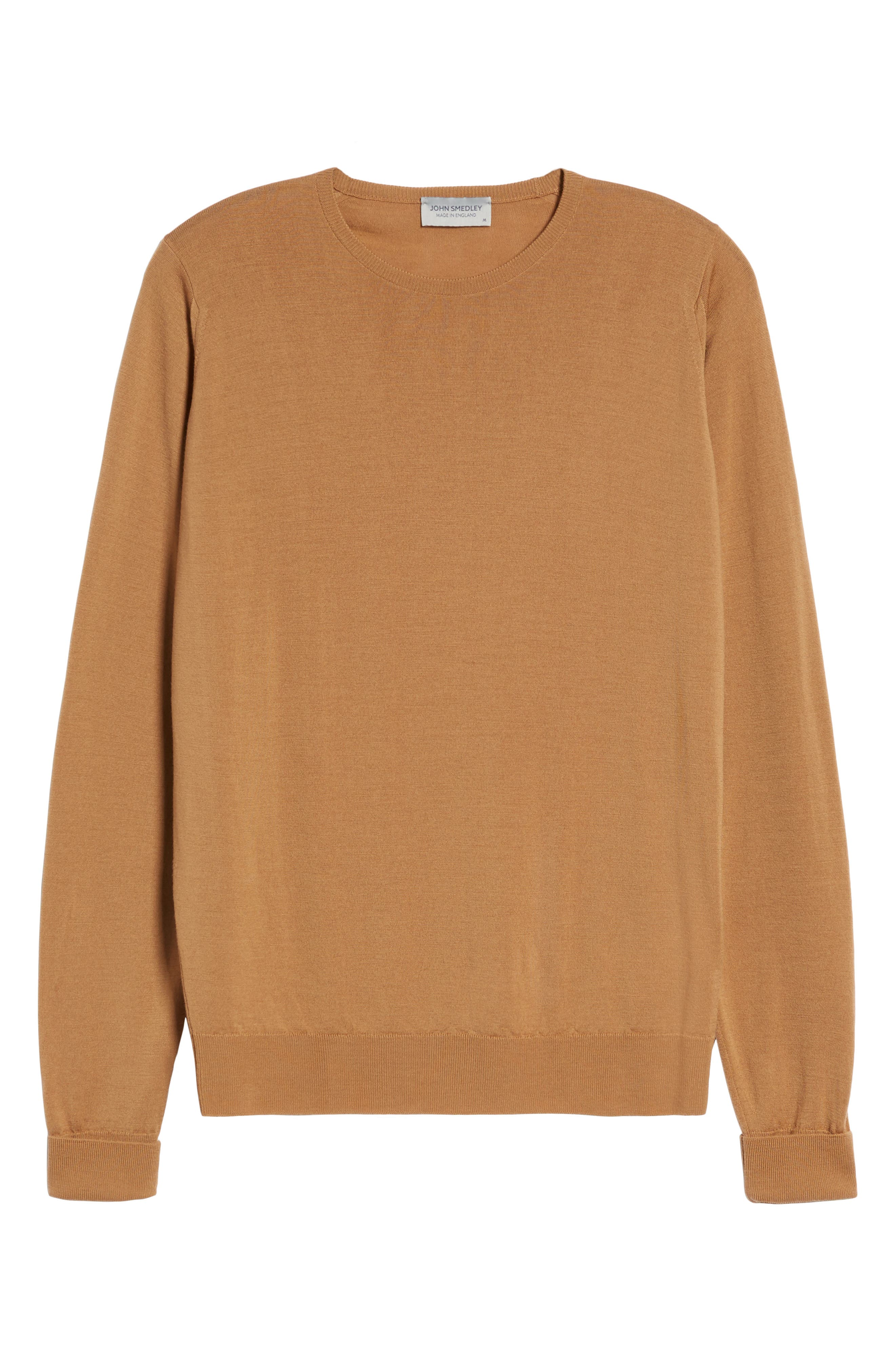 'Marcus' Easy Fit Crewneck Wool Sweater,                             Alternate thumbnail 6, color,                             CAMEL