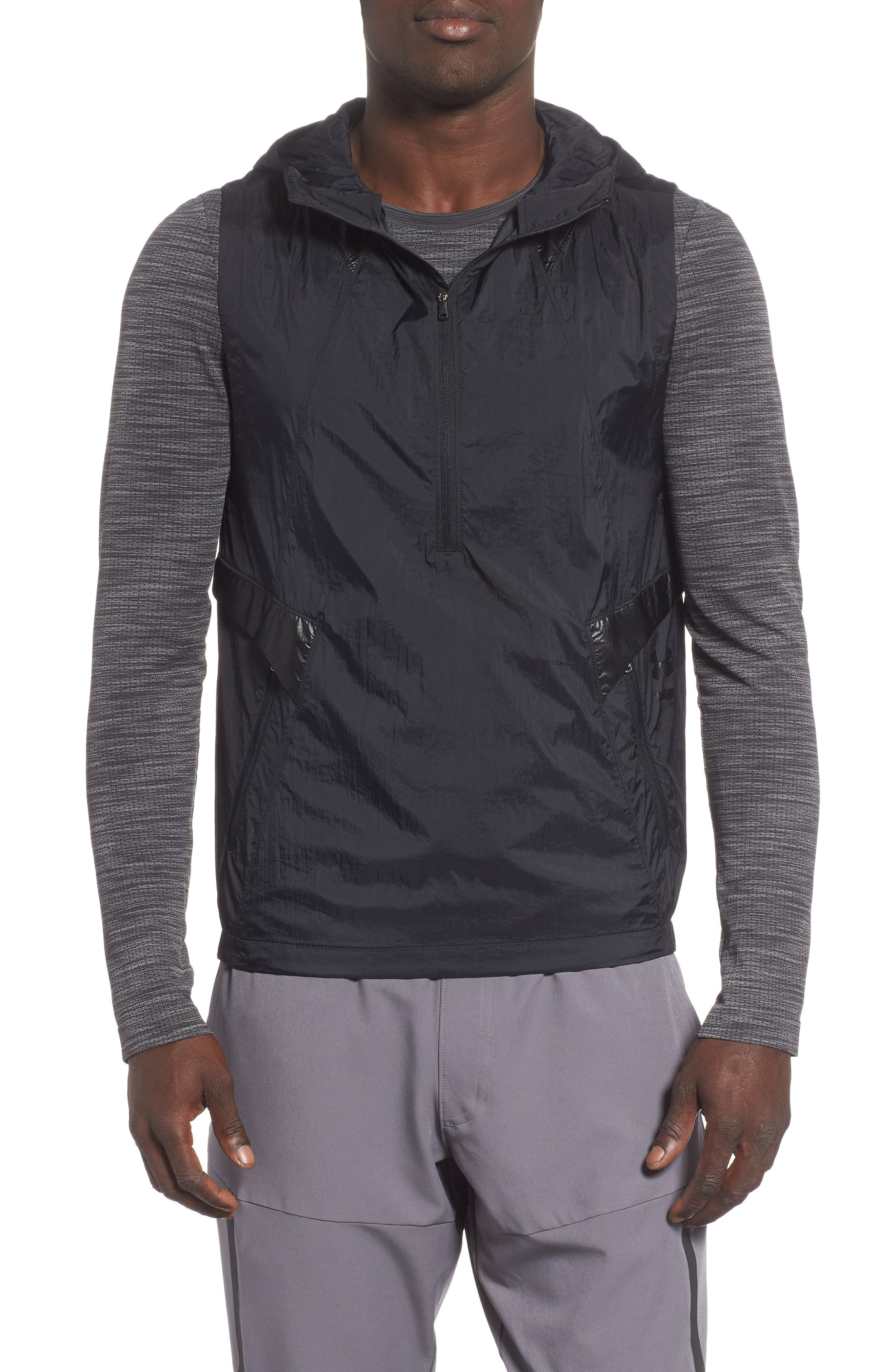 Perpetual 18 Fitted Hooded Vest,                             Main thumbnail 1, color,                             BLACK