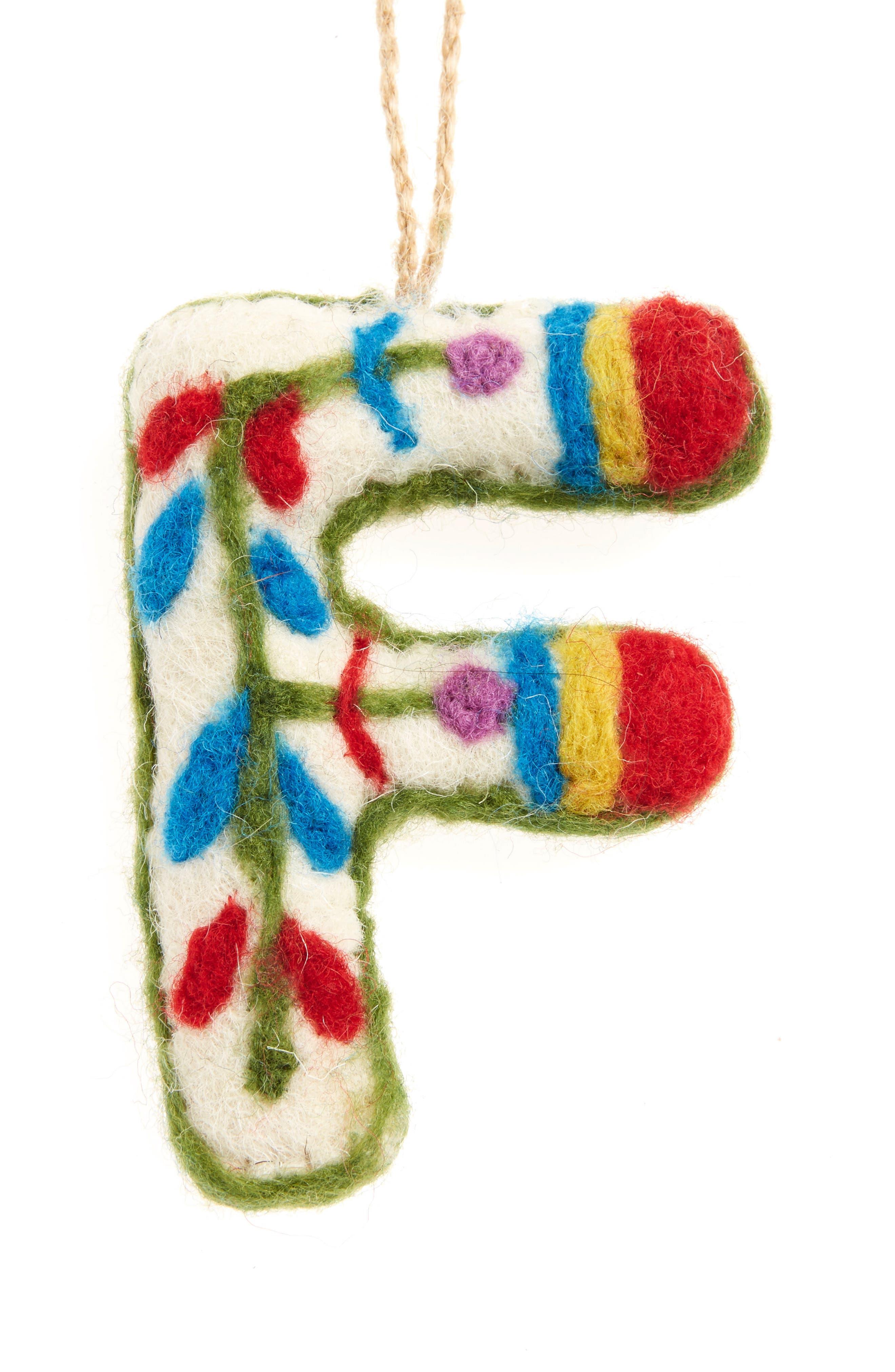 Global Folk Wool Monogram Ornament,                             Main thumbnail 6, color,