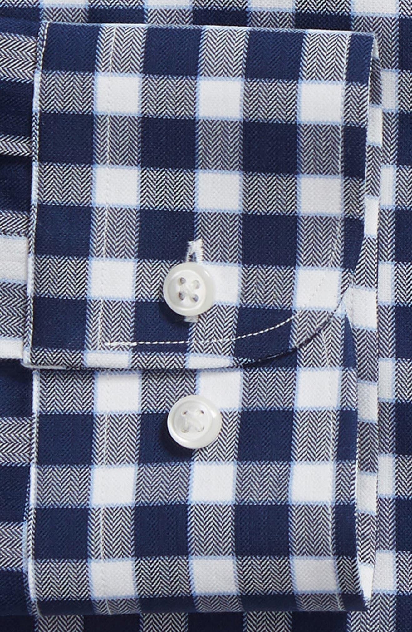 Tech-Smart Trim Fit Stretch Check Dress Shirt,                             Alternate thumbnail 6, color,                             NAVY PEACOAT