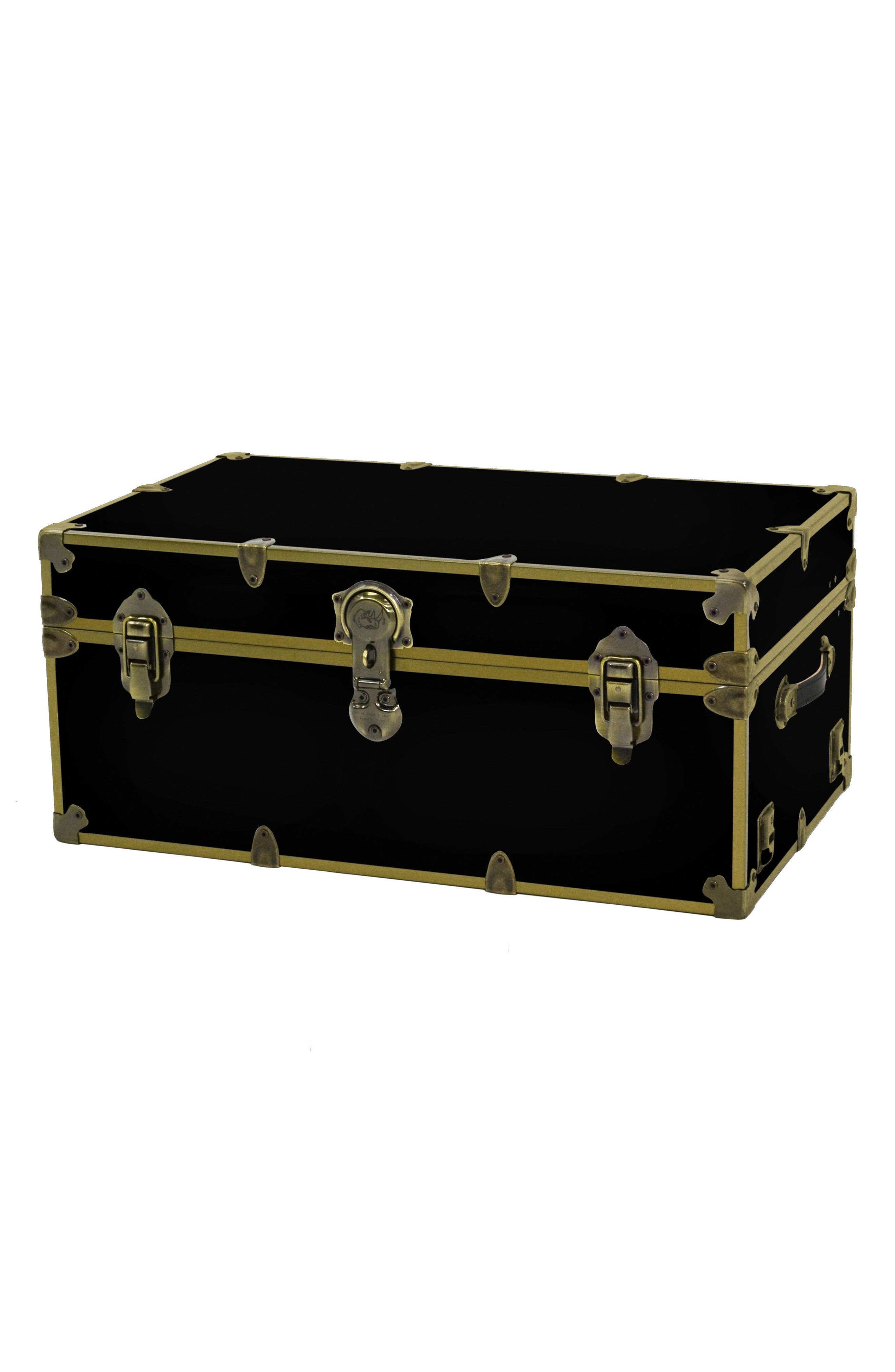 Rhino Trunk & Case Large Brass Armor Trunk,                         Main,                         color, BLACK