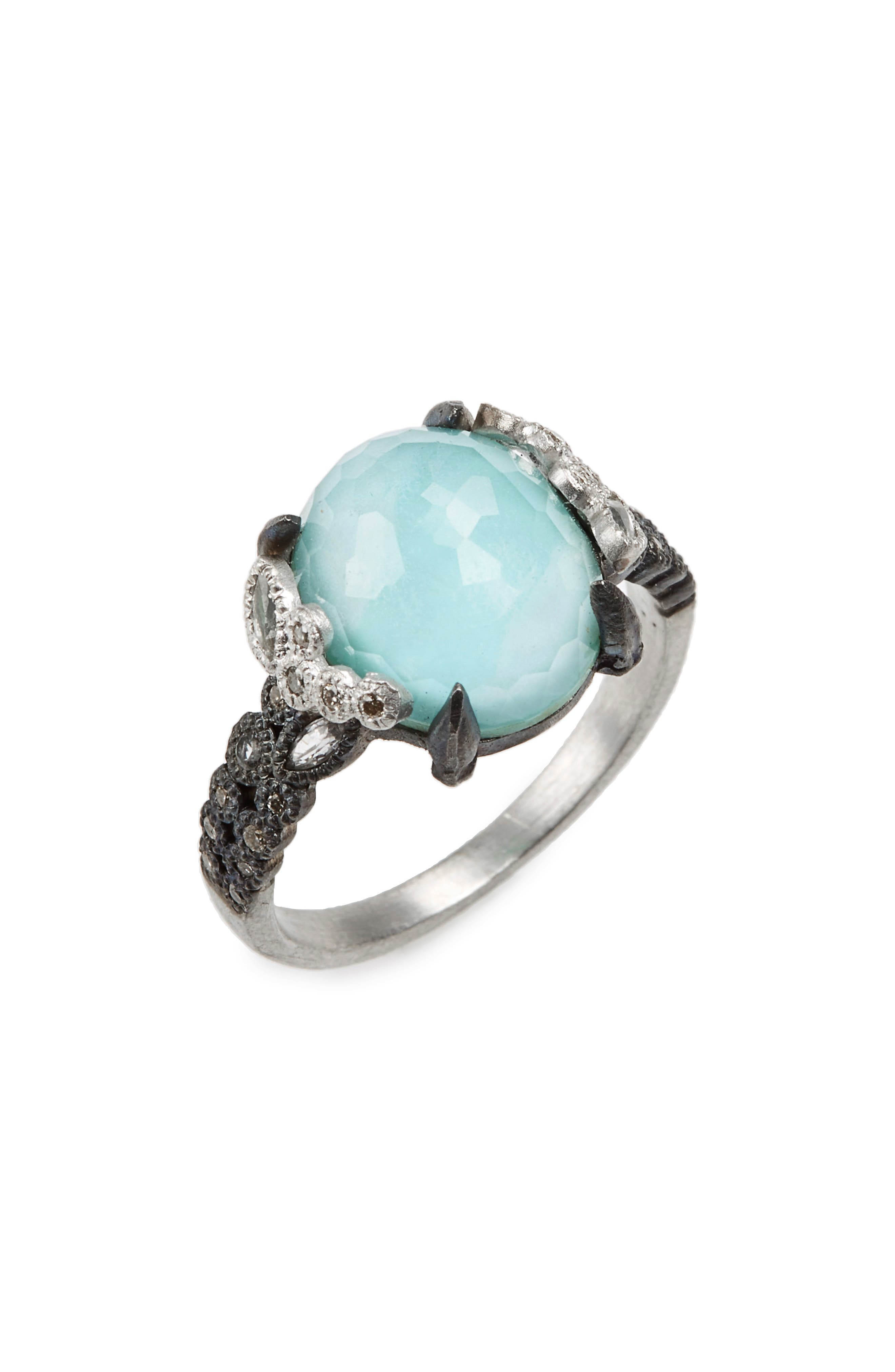 New World Crivelli Turquoise & Diamond Ring,                             Main thumbnail 1, color,                             SILVER/ TURQUOISE
