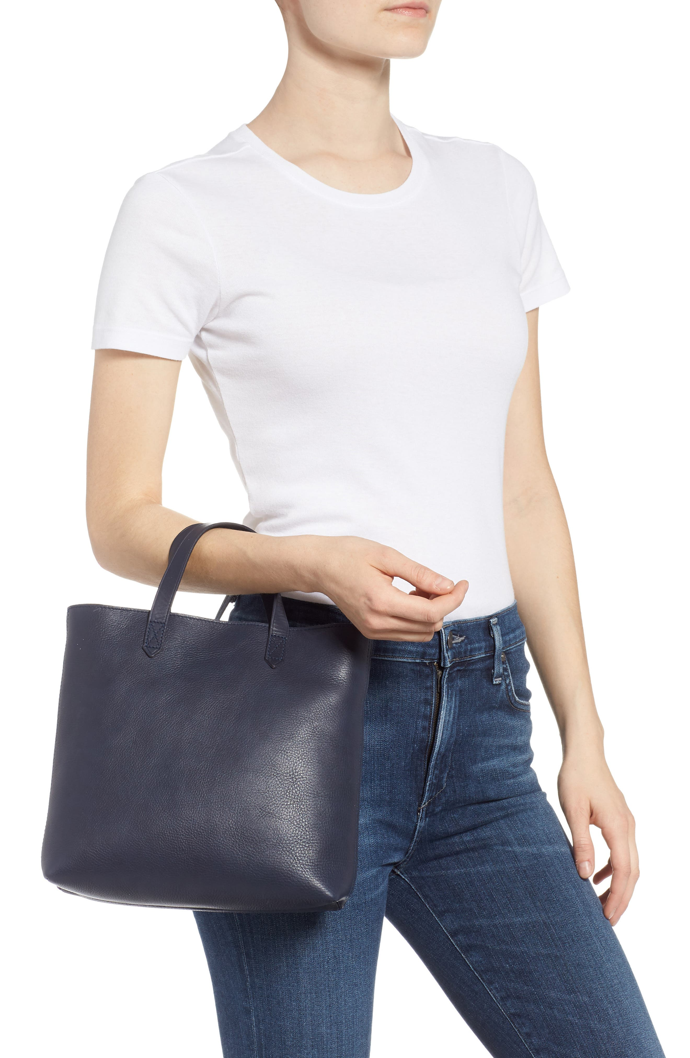 Small Transport Leather Crossbody Tote,                             Alternate thumbnail 2, color,                             DEEP NAVY