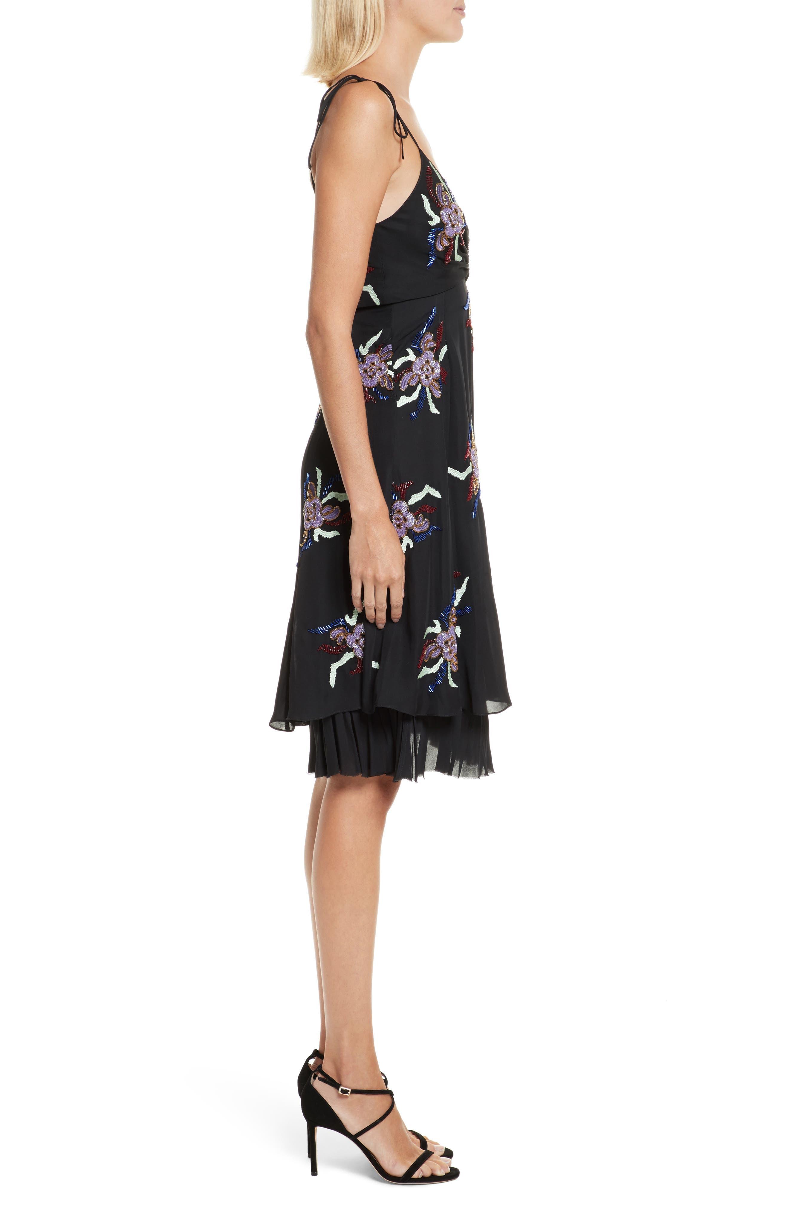 Porsca Embellished Silk Dress,                             Alternate thumbnail 3, color,                             008