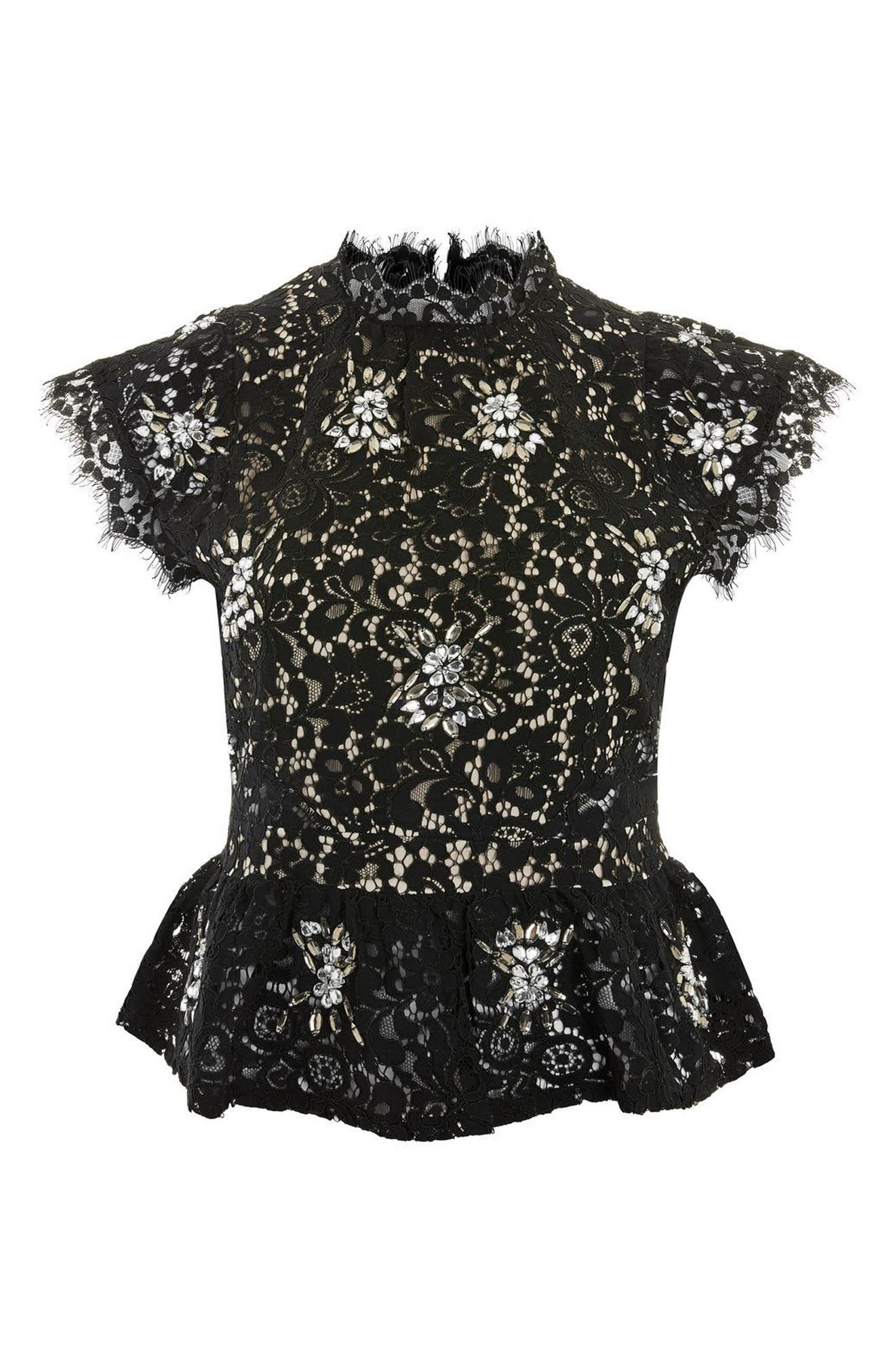 Embellished High Neck Lace Top,                             Alternate thumbnail 3, color,                             001