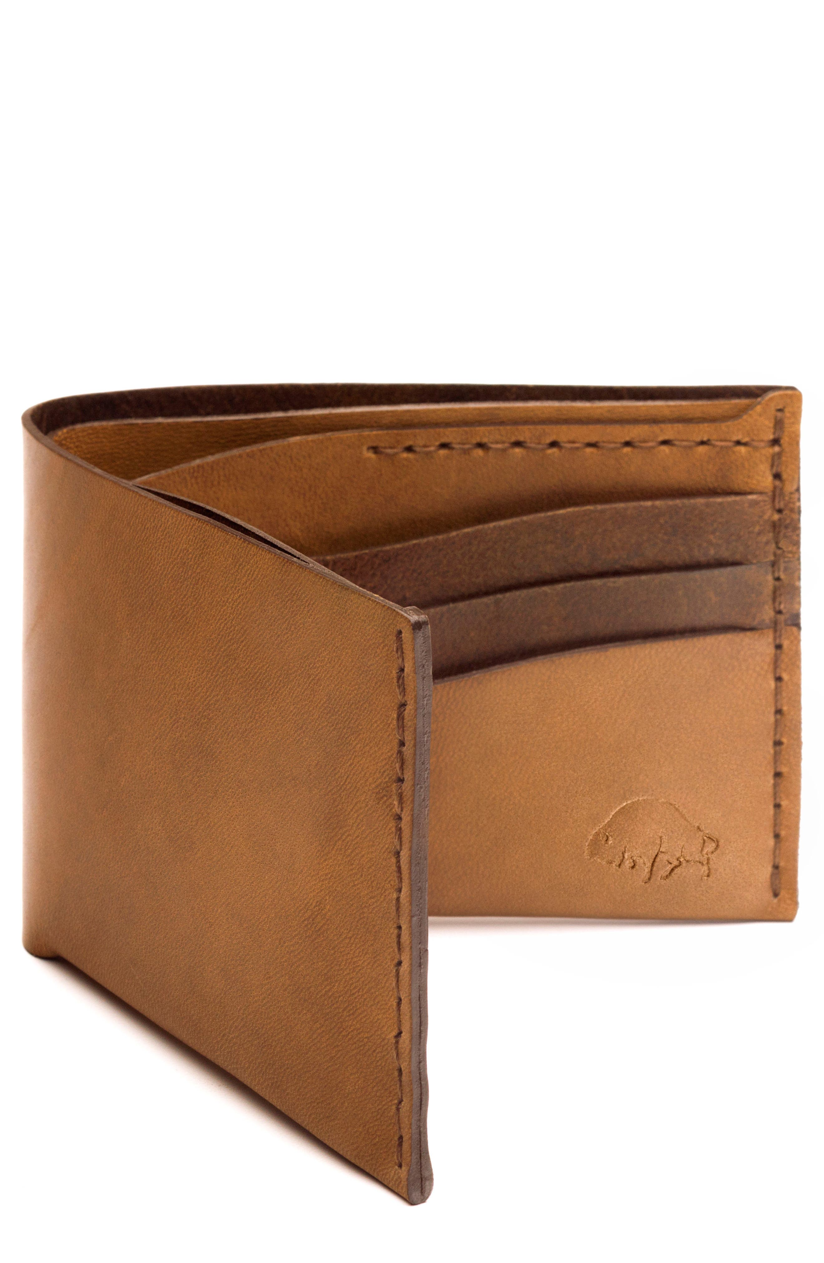 No. 8 Leather Wallet,                             Main thumbnail 1, color,                             WHISKEY