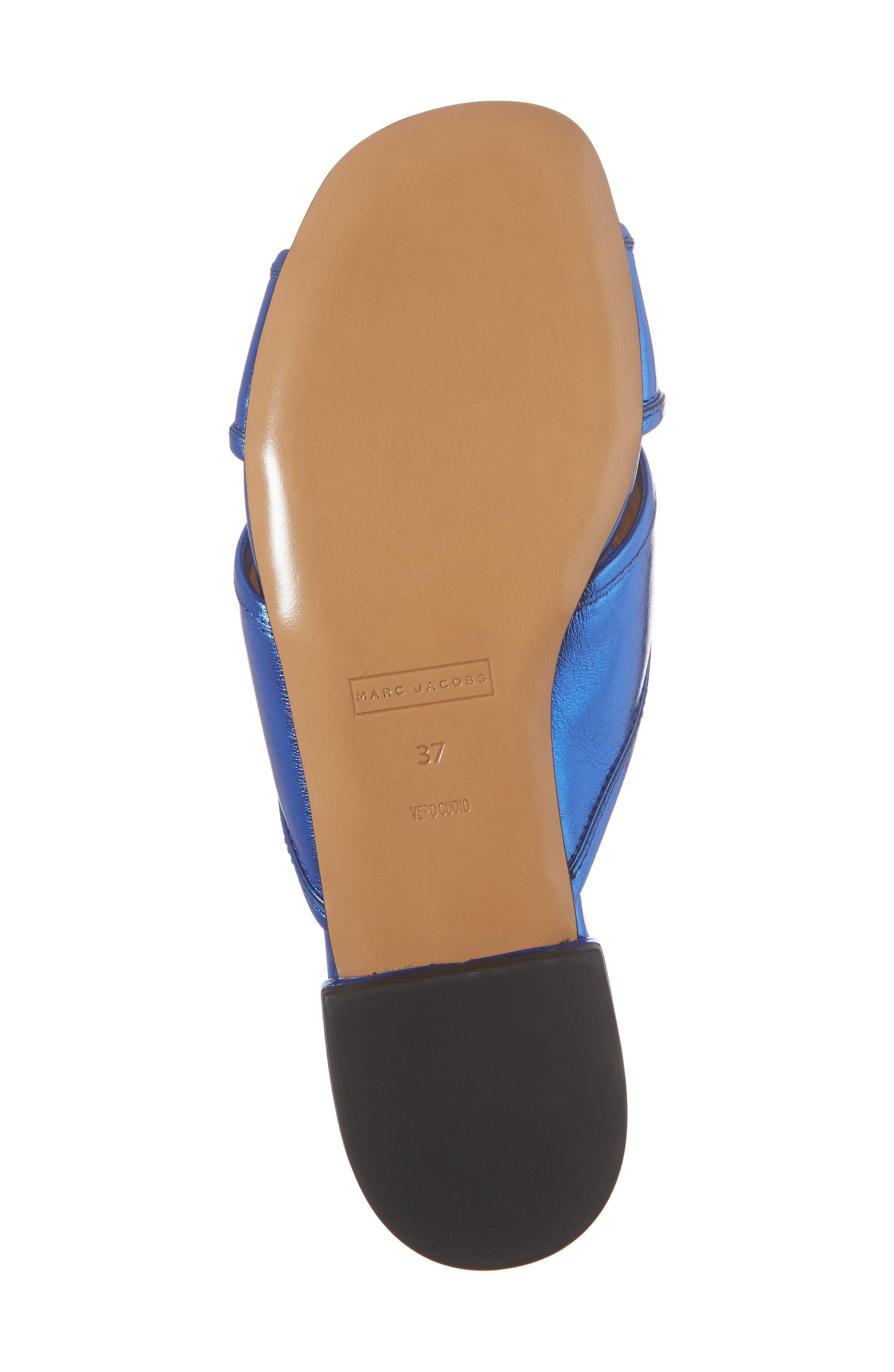 Aurora Metallic Slide Sandal,                             Alternate thumbnail 6, color,                             BLUE
