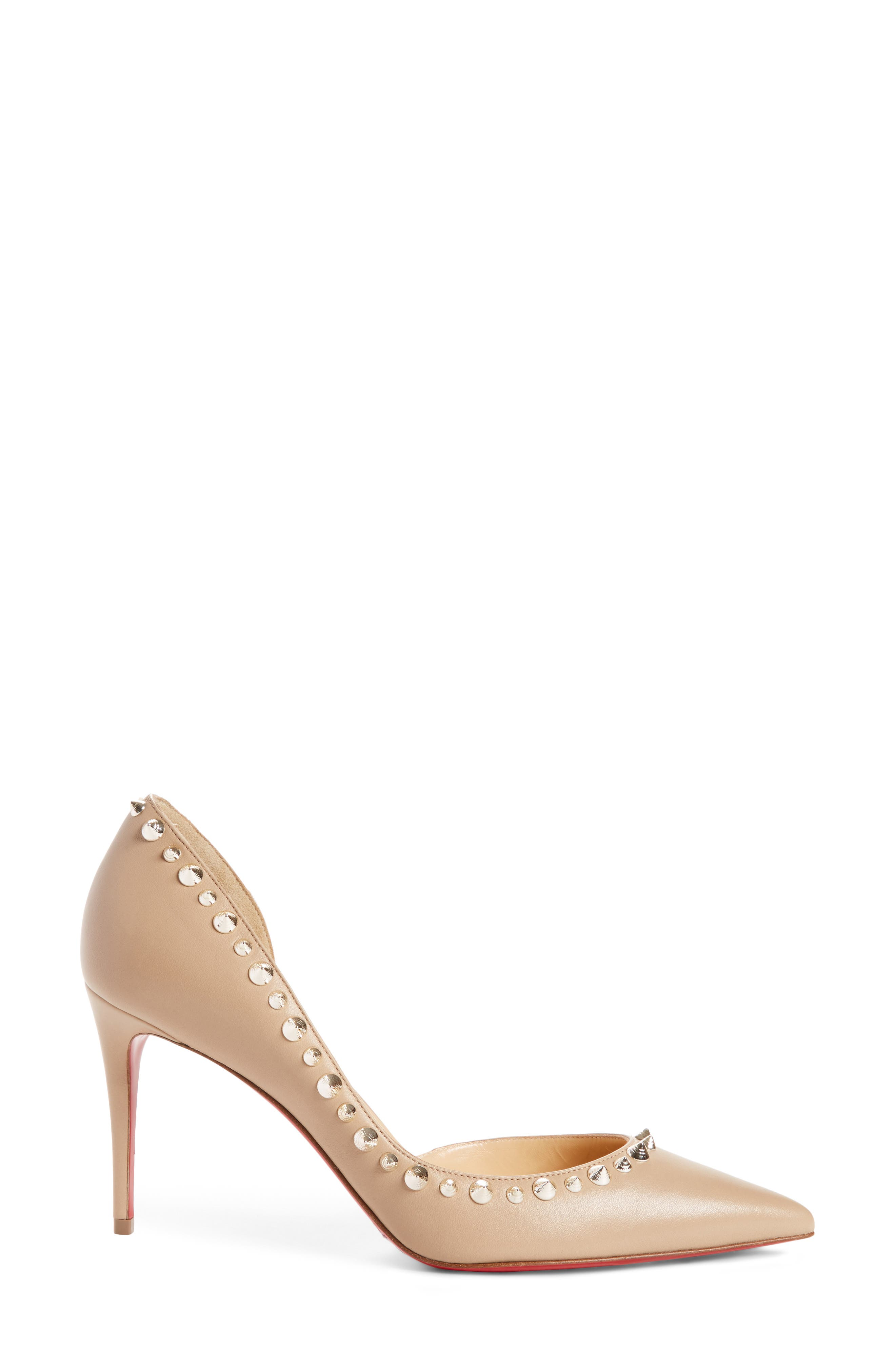 Irishell Studded Half d'Orsay Pump,                             Alternate thumbnail 3, color,                             NUDE/ WHITE GOLD