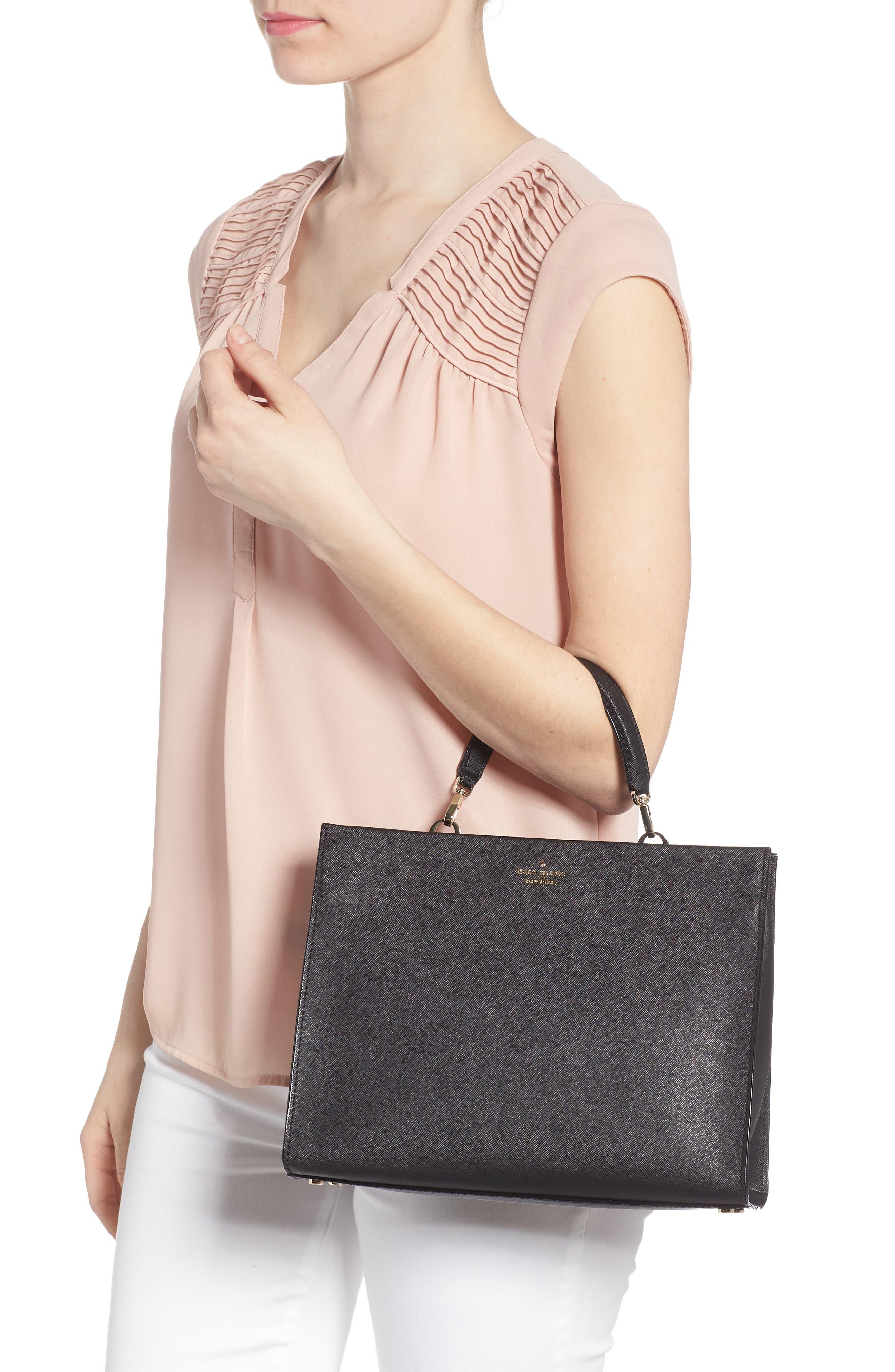 cameron street - sara leather satchel,                             Alternate thumbnail 2, color,                             001