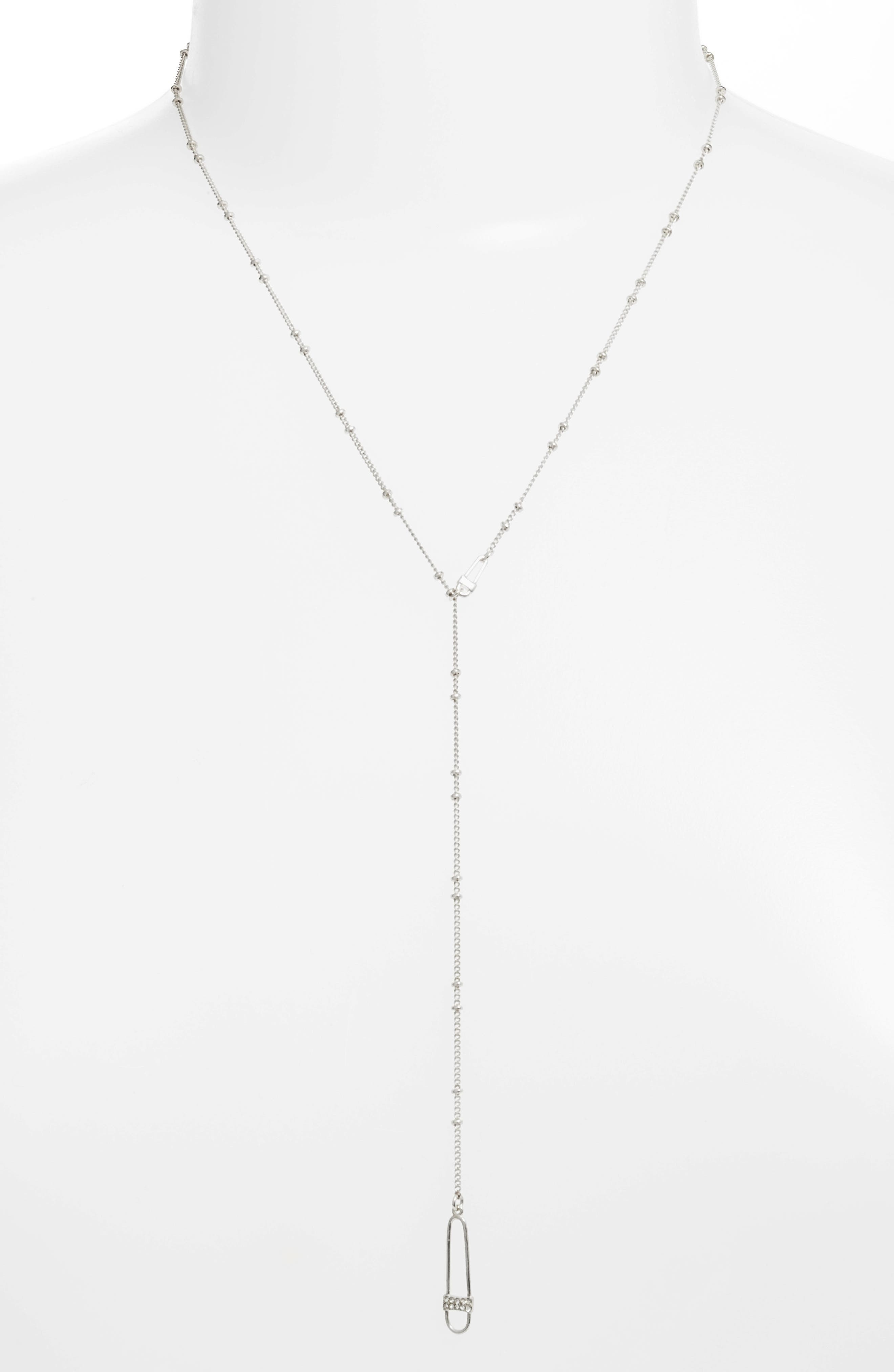 Safety Pin Lariat Necklace,                             Alternate thumbnail 2, color,                             040