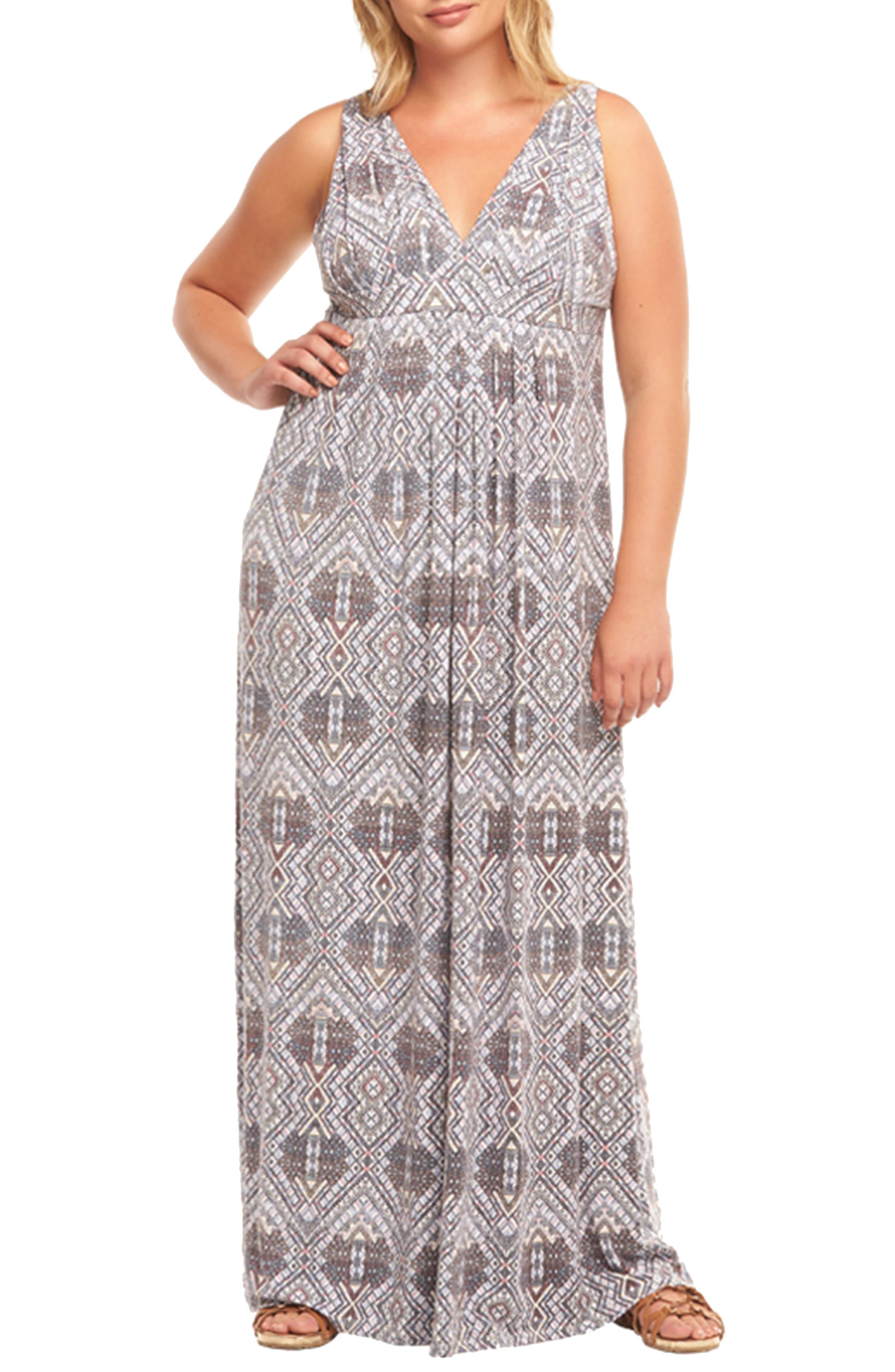Plus Size Tart Chael Lace-Up Back Maxi Dress, Blue