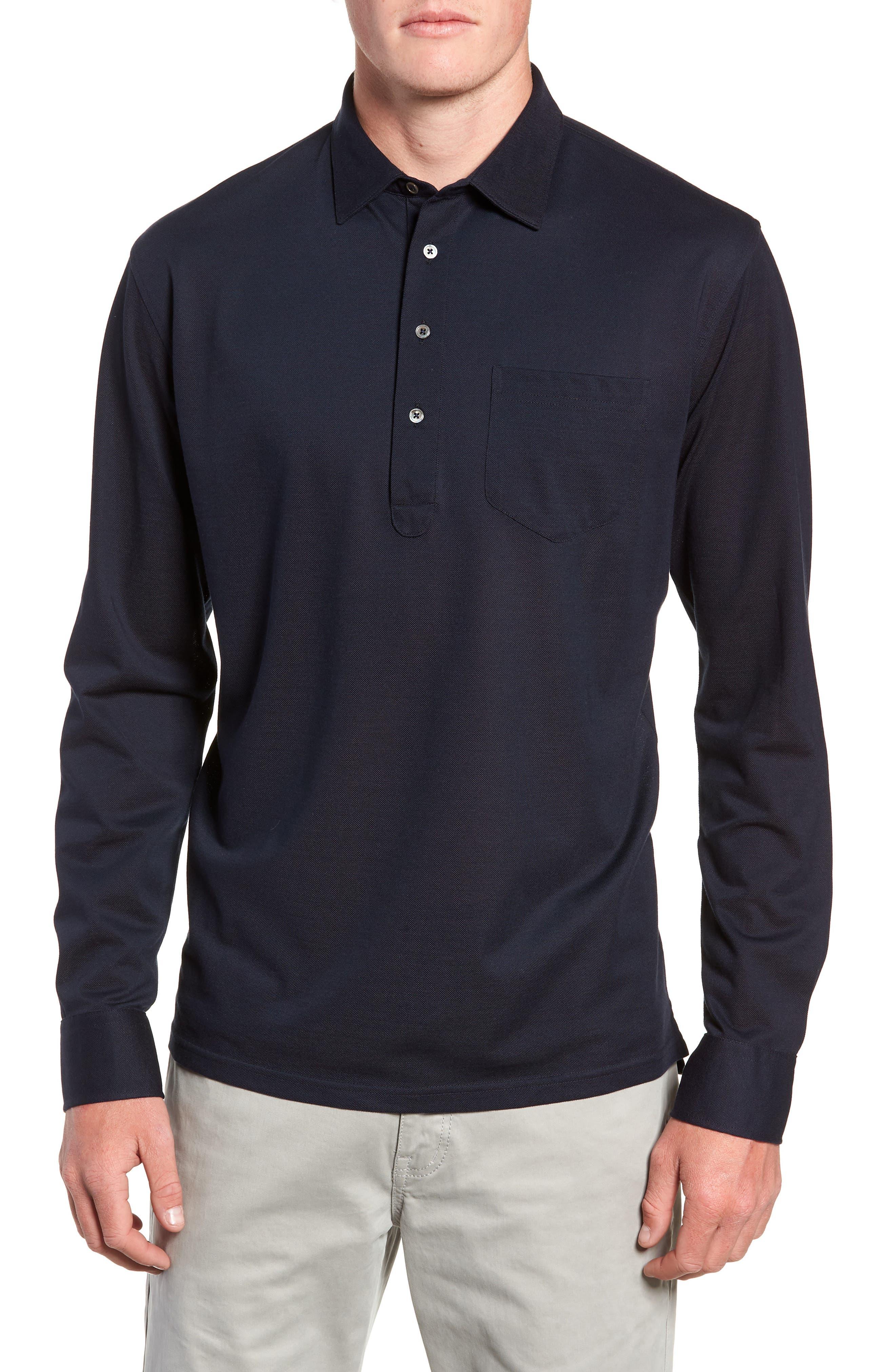 Avon Long Sleeve Silk & Cotton Polo,                         Main,                         color, BARCHETTA