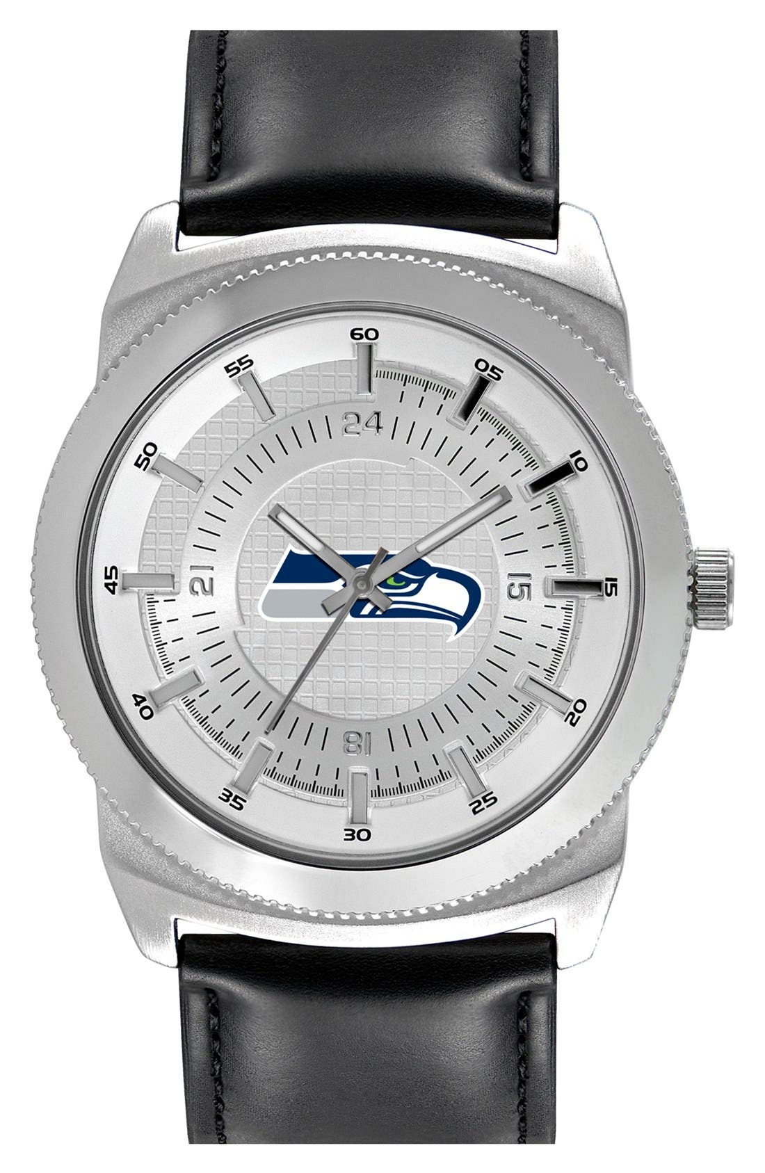 GAME TIME WATCHES 'NFL Vintage - Seattle Seahawks' Faux Leather Strap Watch, 46mm, Main, color, 001