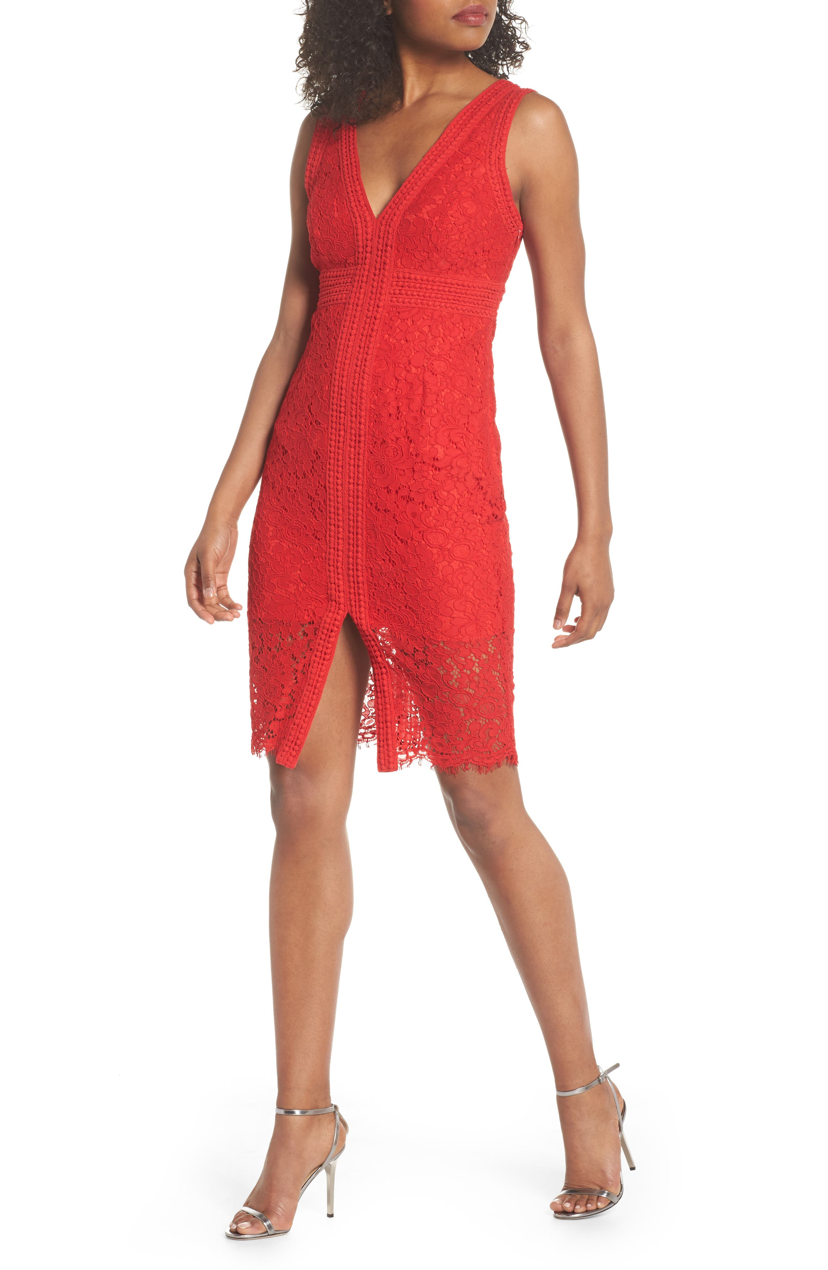 Morgan Front Slit Lace Sheath Dress,                             Main thumbnail 1, color,                             LIPSTICK