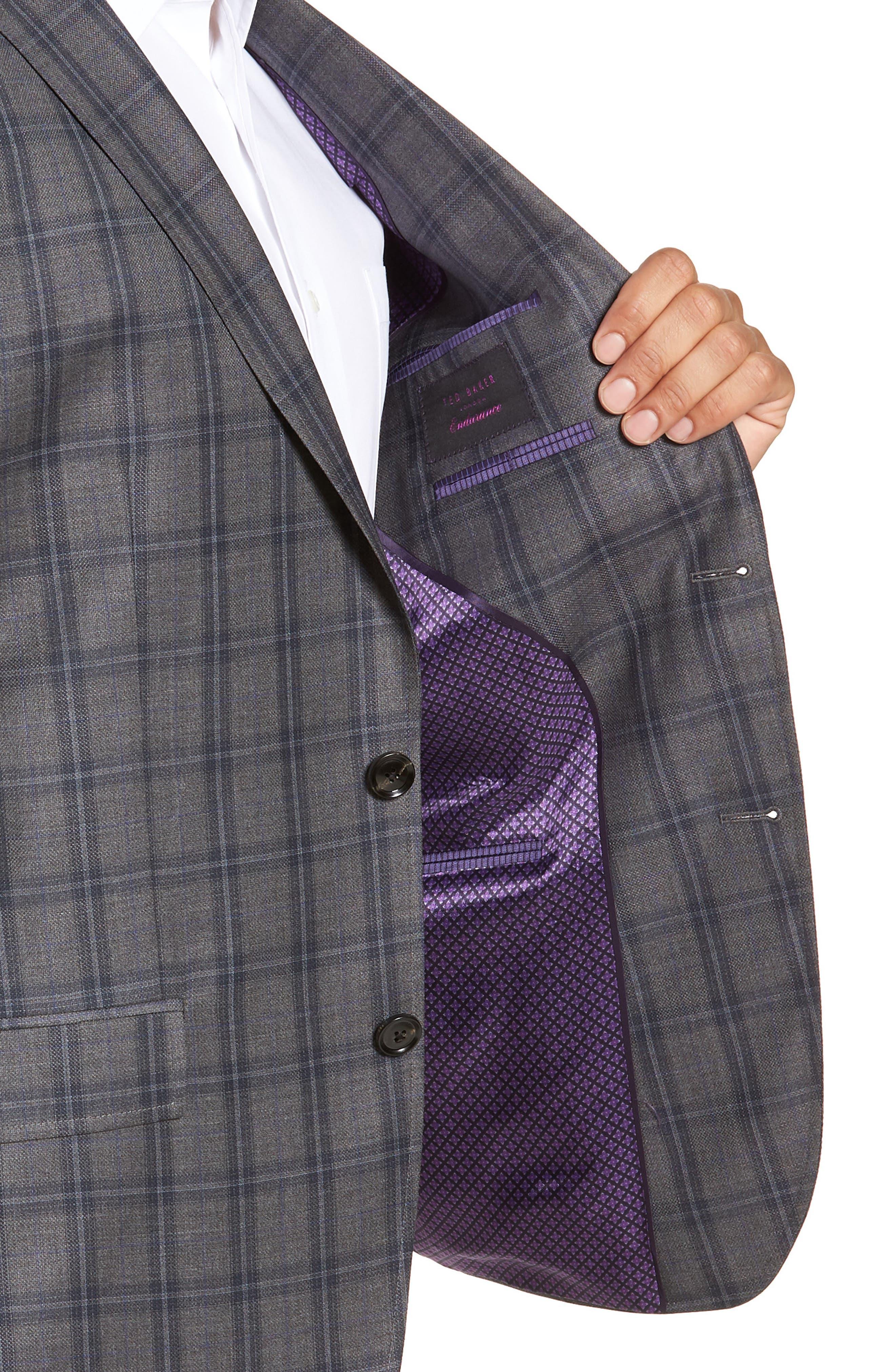 Jay Trim Fit Windowpane Wool Sport Coat,                             Alternate thumbnail 4, color,                             GREY