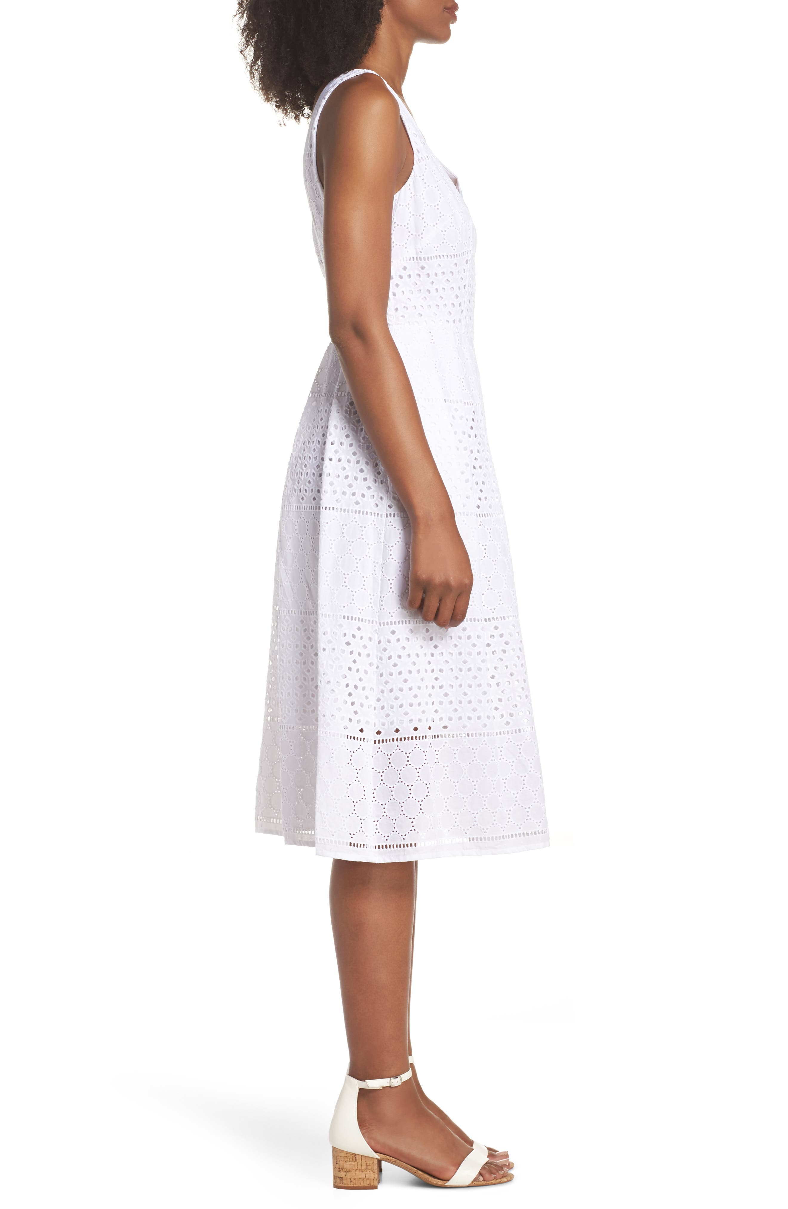 V-Neck Cotton Eyelet Fit & Flare Dress,                             Alternate thumbnail 7, color,