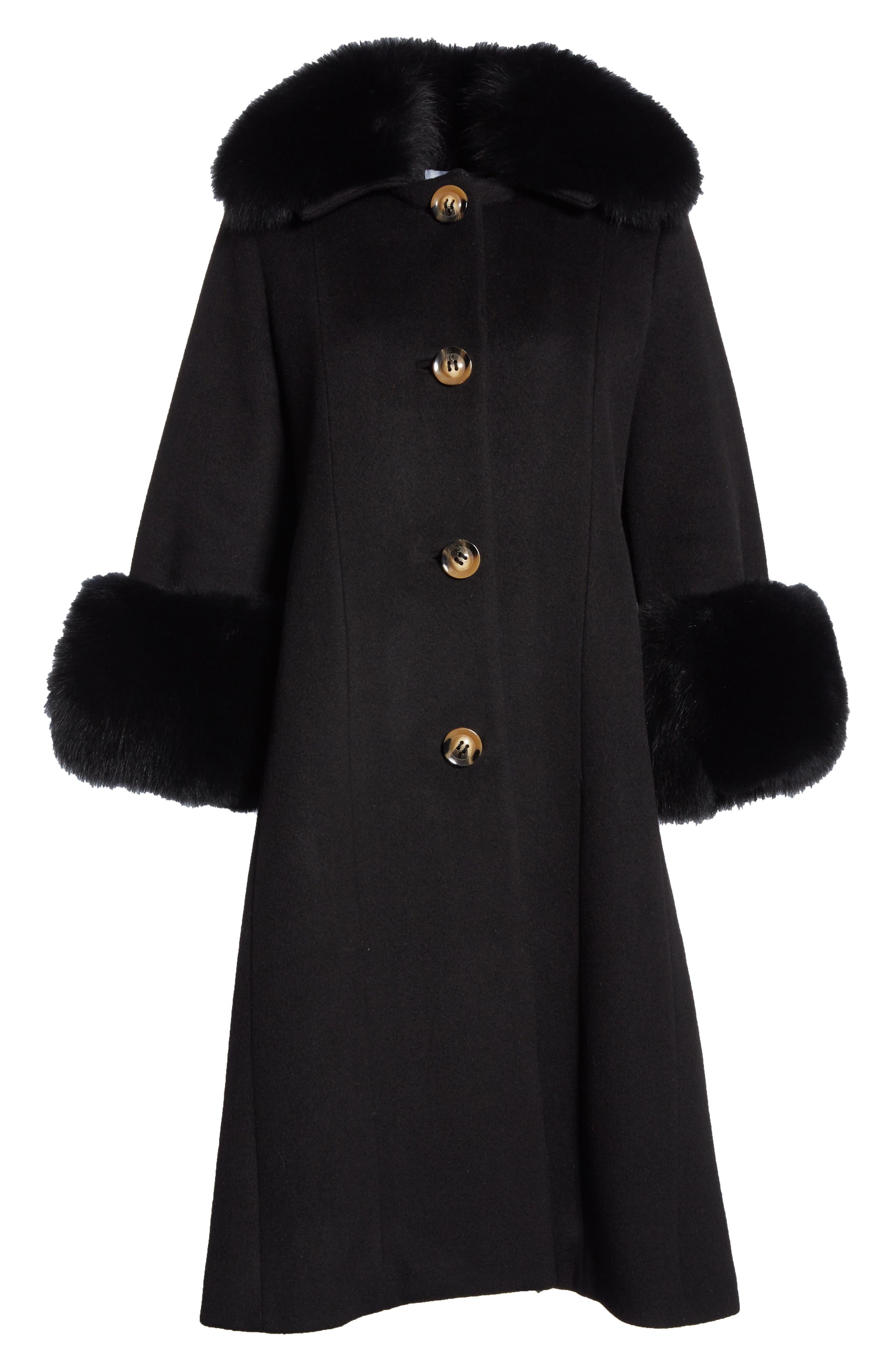 SAKS POTTS,                             Yvonne Wool Coat with Genuine Fox Fur Trim,                             Alternate thumbnail 5, color,                             001