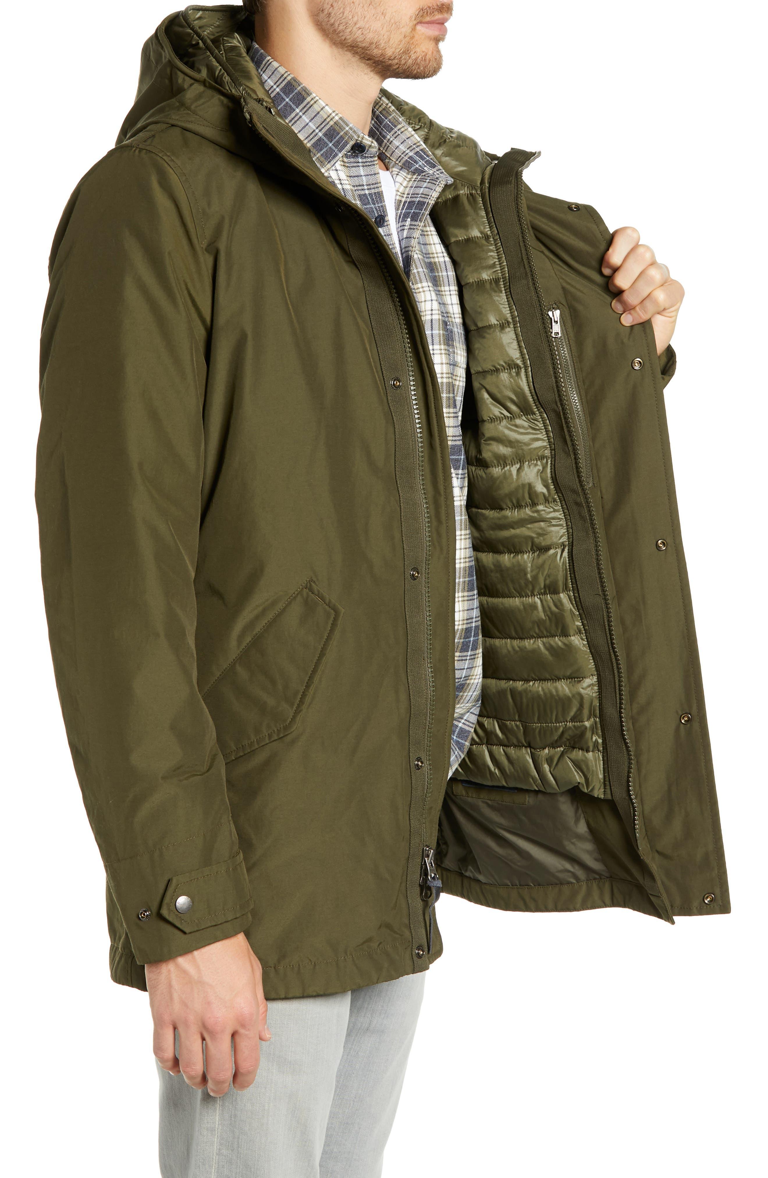 John Rich 'Long Military Eskimo' 3-in-1 Hooded Jacket,                             Alternate thumbnail 4, color,                             FLINT OLIVE