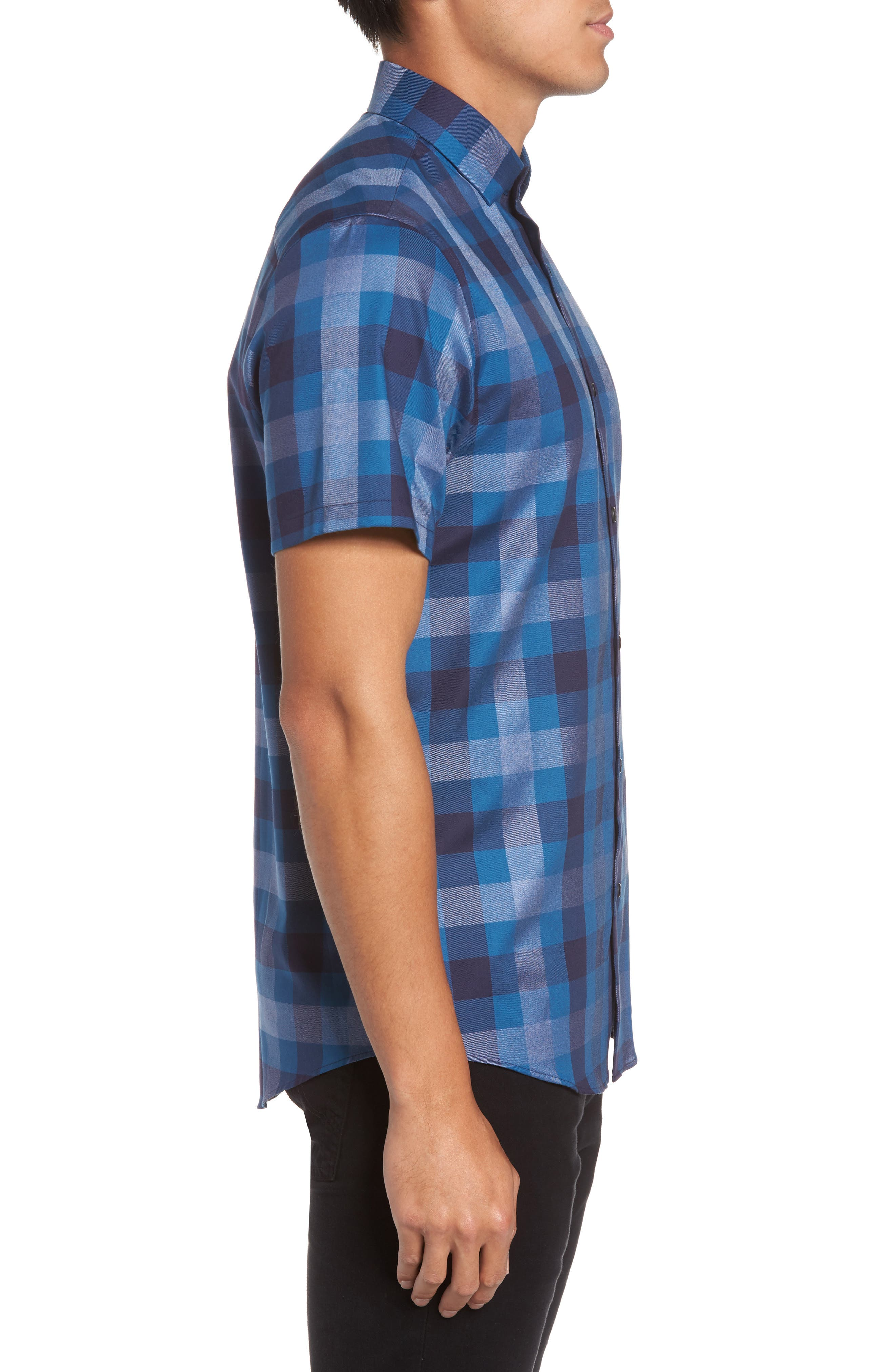 No-Iron Large Check Woven Shirt,                             Alternate thumbnail 3, color,                             410
