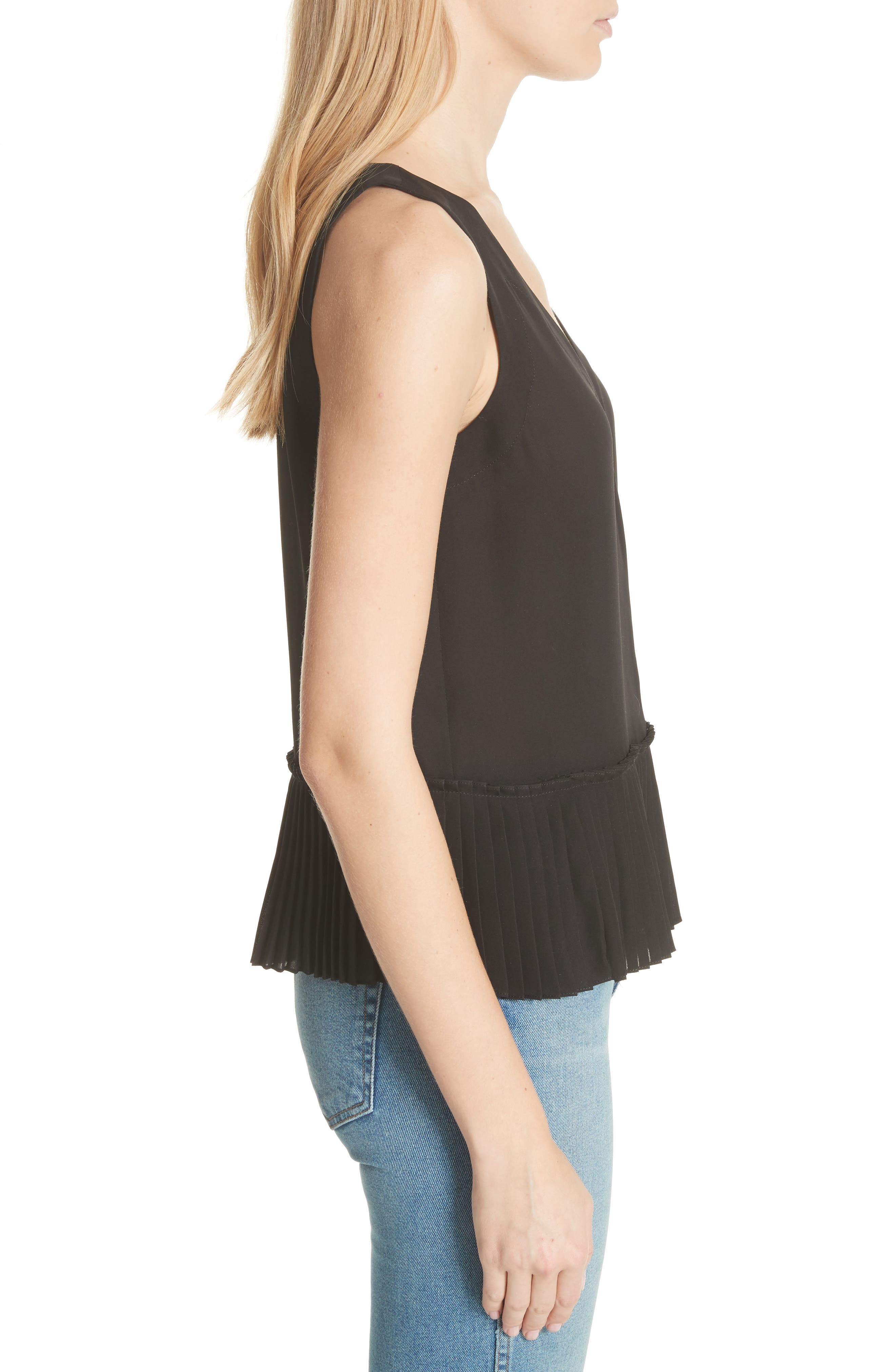 Stretch Silk Tank Top,                             Alternate thumbnail 3, color,                             BLACK
