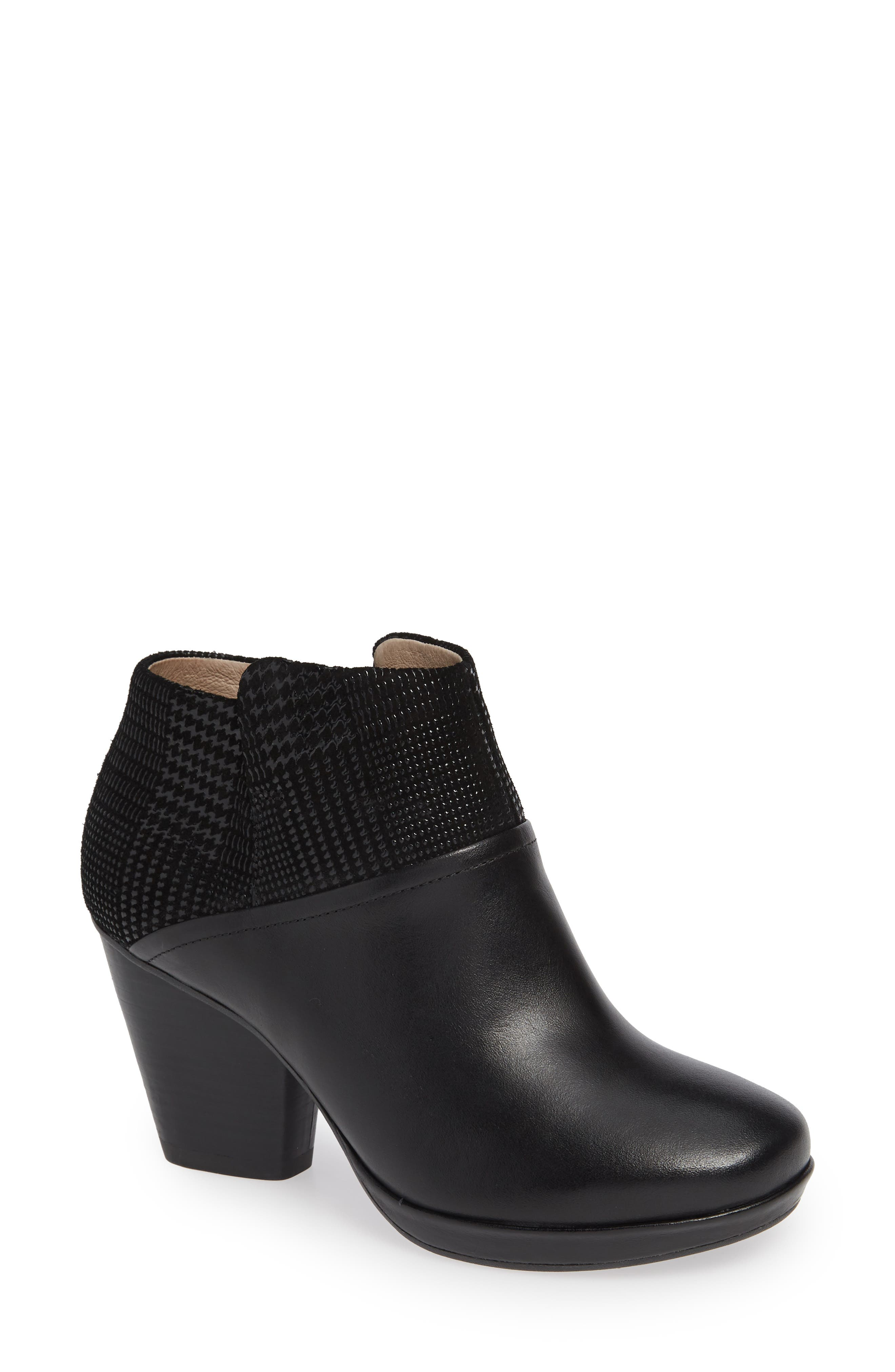 Miley Burnished Leather Bootie,                             Main thumbnail 1, color,                             BLACK BURNISHED LEATHER