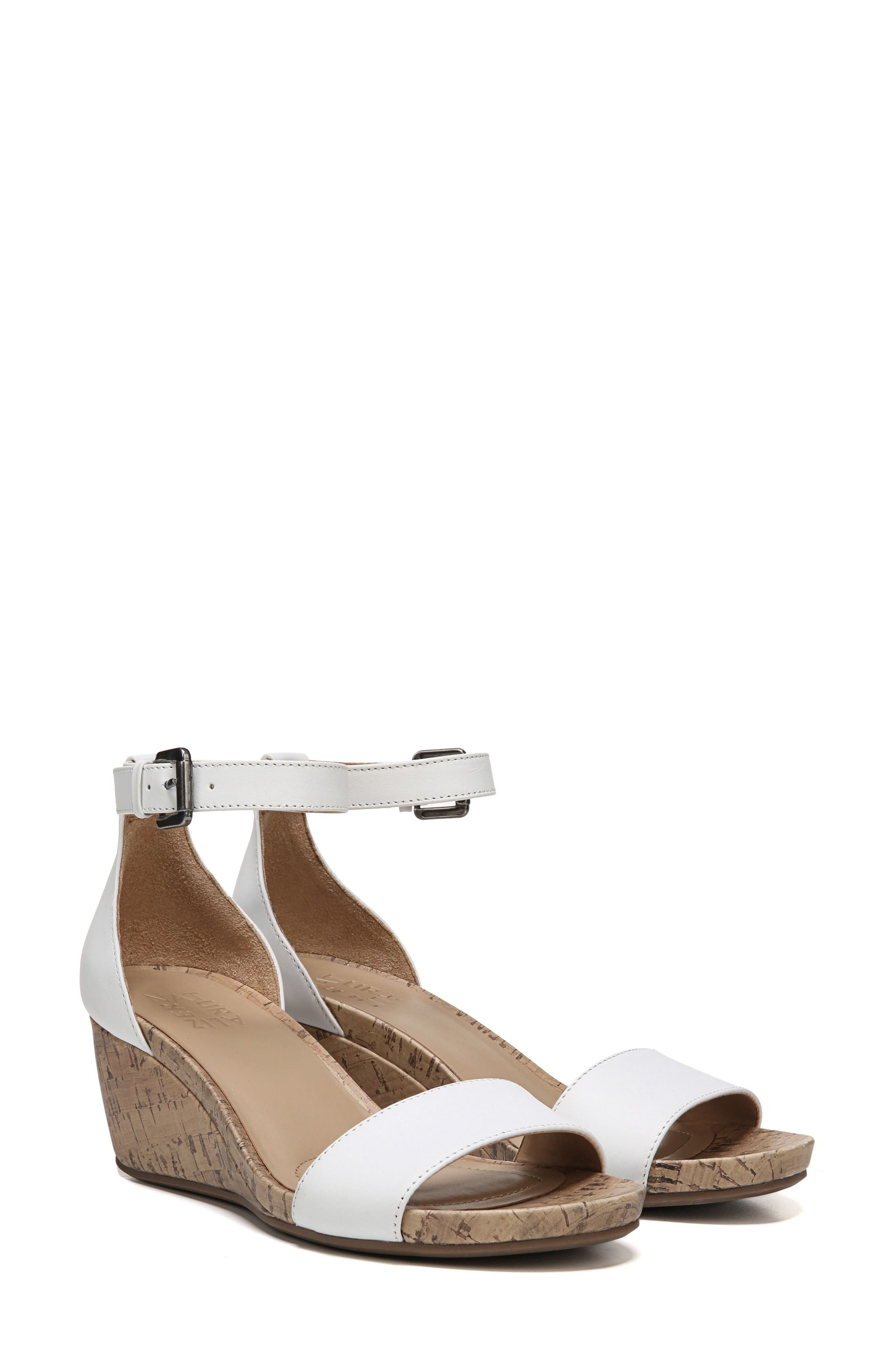 Cami Wedge Sandal,                         Main,                         color, WHITE LEATHER