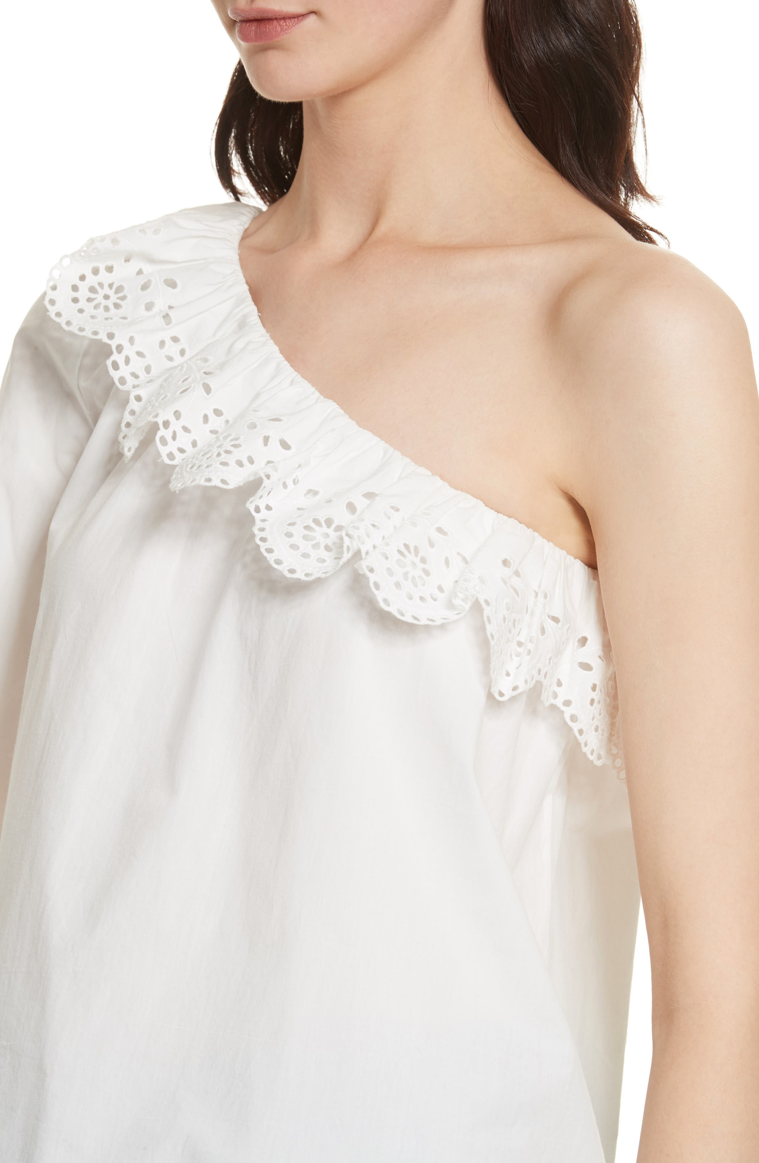 Arianthe One-Shoulder Eyelet Top,                             Alternate thumbnail 4, color,                             121