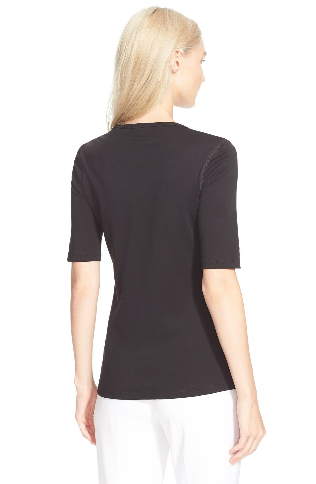 Pima Cotton Top,                             Alternate thumbnail 7, color,                             BLACK