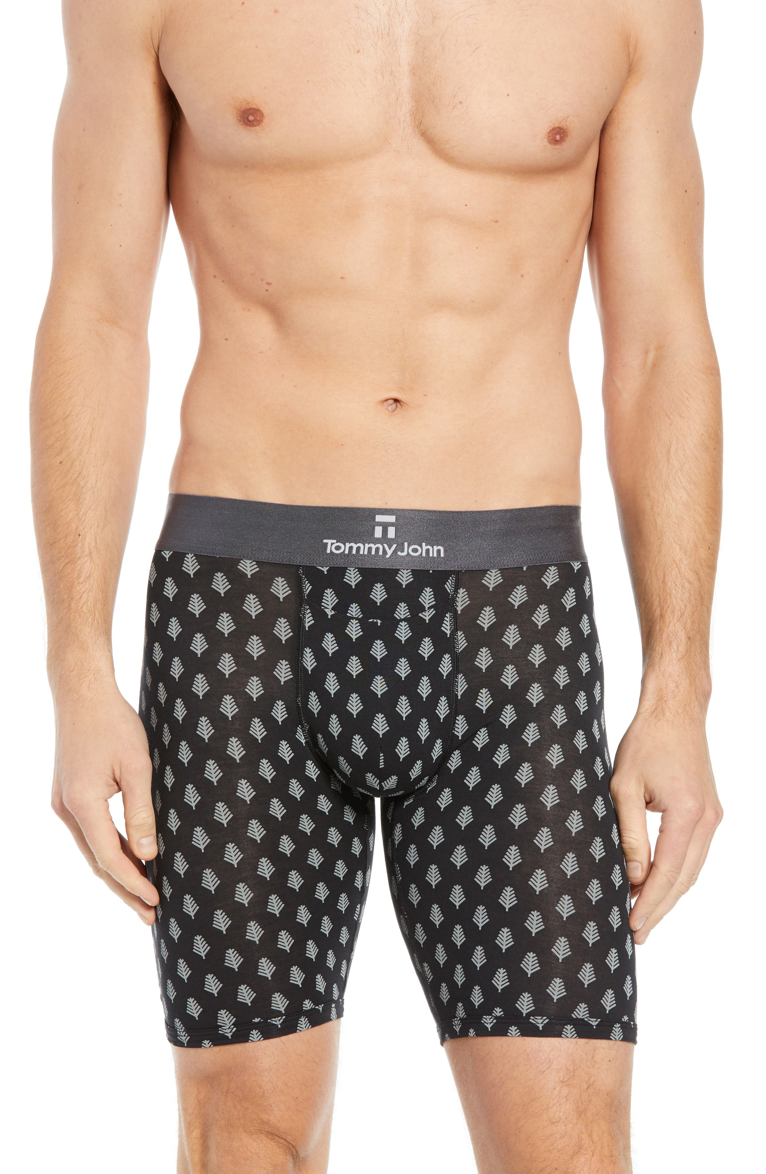 TOMMY JOHN Second Skin Snowy Forest Boxer Briefs in Black